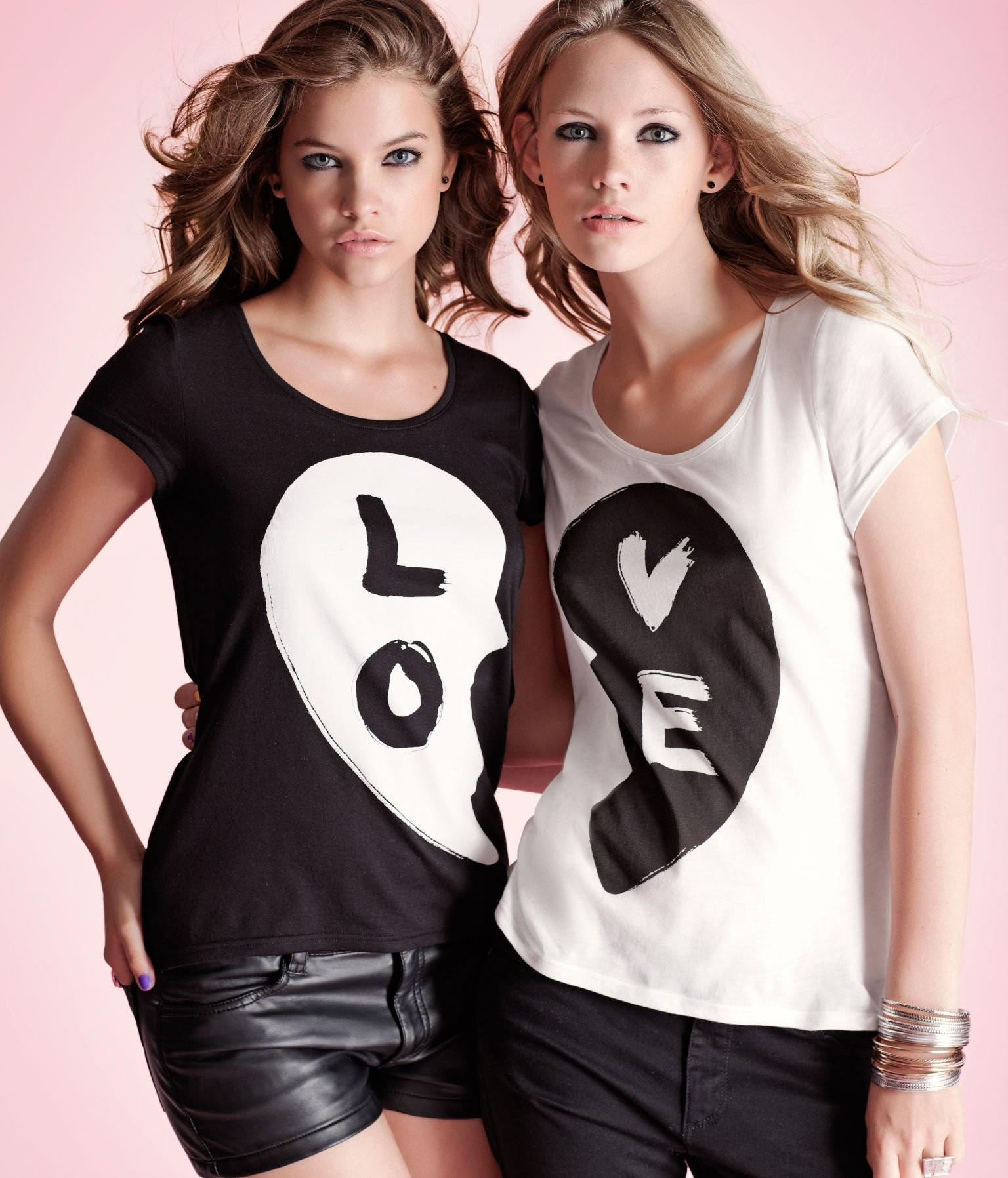 People 1536x1796 women model blonde long hair looking at viewer love Barbara Palvin T-shirt brunette pink background shorts two women leather pants  eyeliner