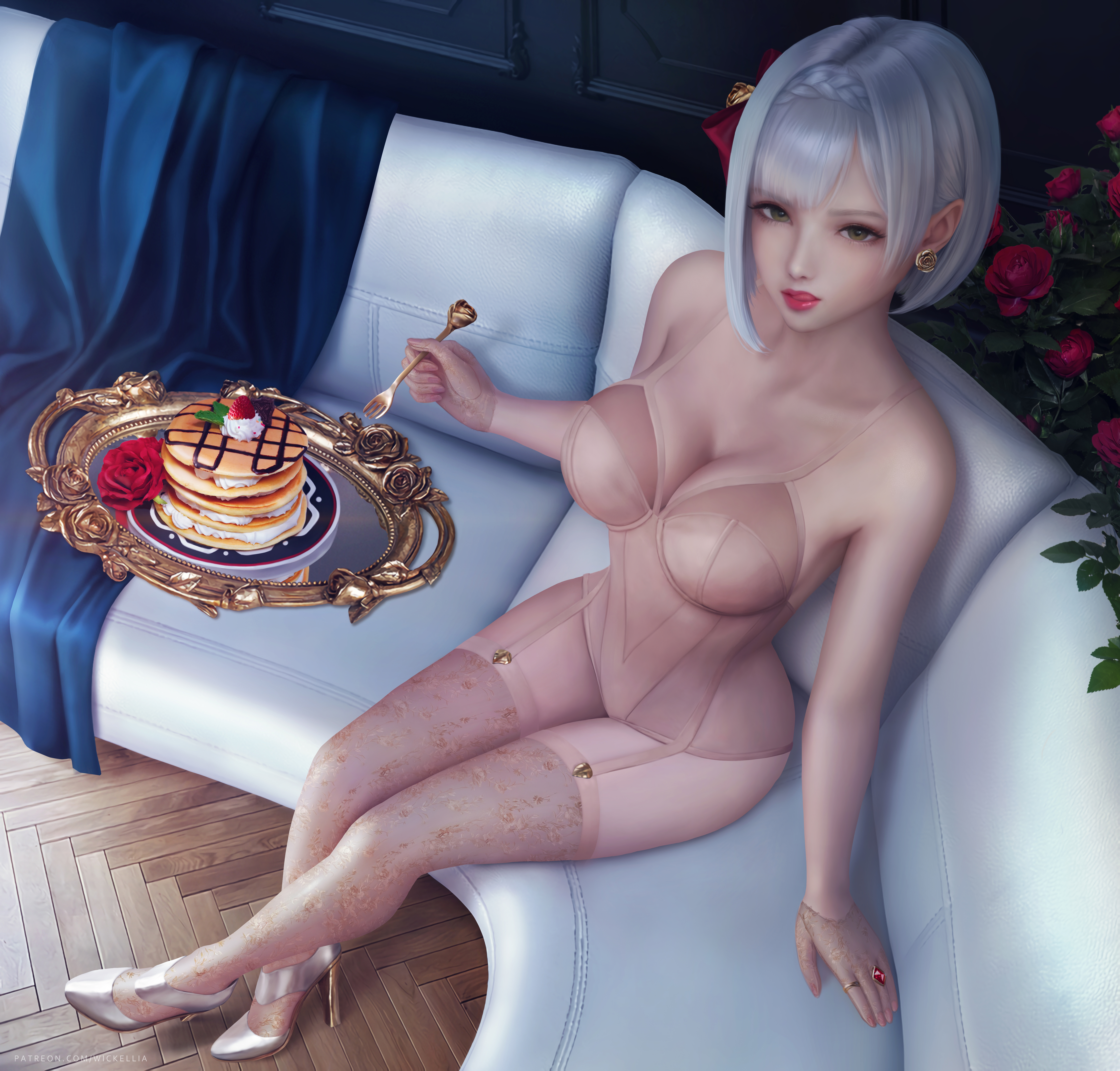 Anime 6800x6500 illustration artwork digital art fan art drawing fantasy art fantasy girl Wickellia video games video game girls video game art video game characters anime anime girls Genshin Impact lingerie cleavage belly belly button food short hair silver hair looking at viewer Noelle (Genshin Impact)