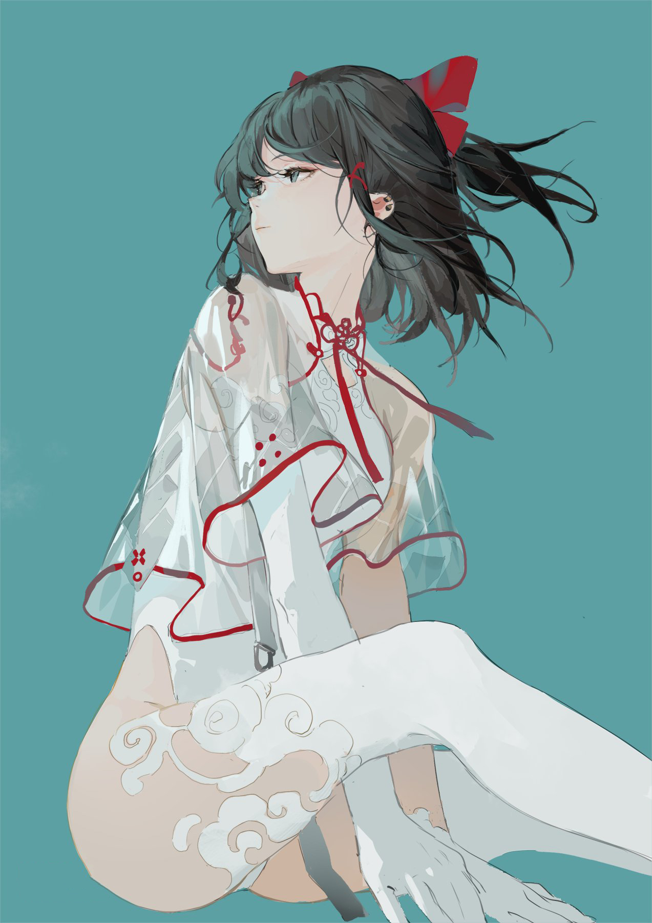 Anime 1273x1800 anime girls simple background stockings artwork digital art maiwetea Touhou Hakurei Reimu hands between legs dark hair Chinese clothing REEH