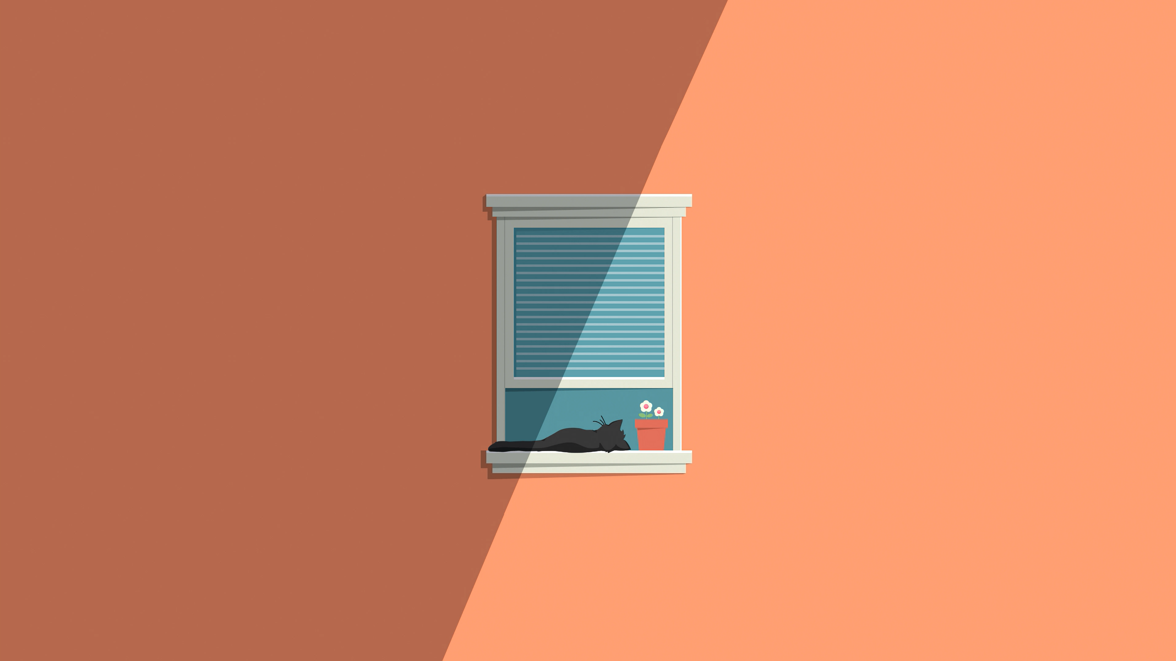 General 3840x2160 simple minimalism simple background cats window sill