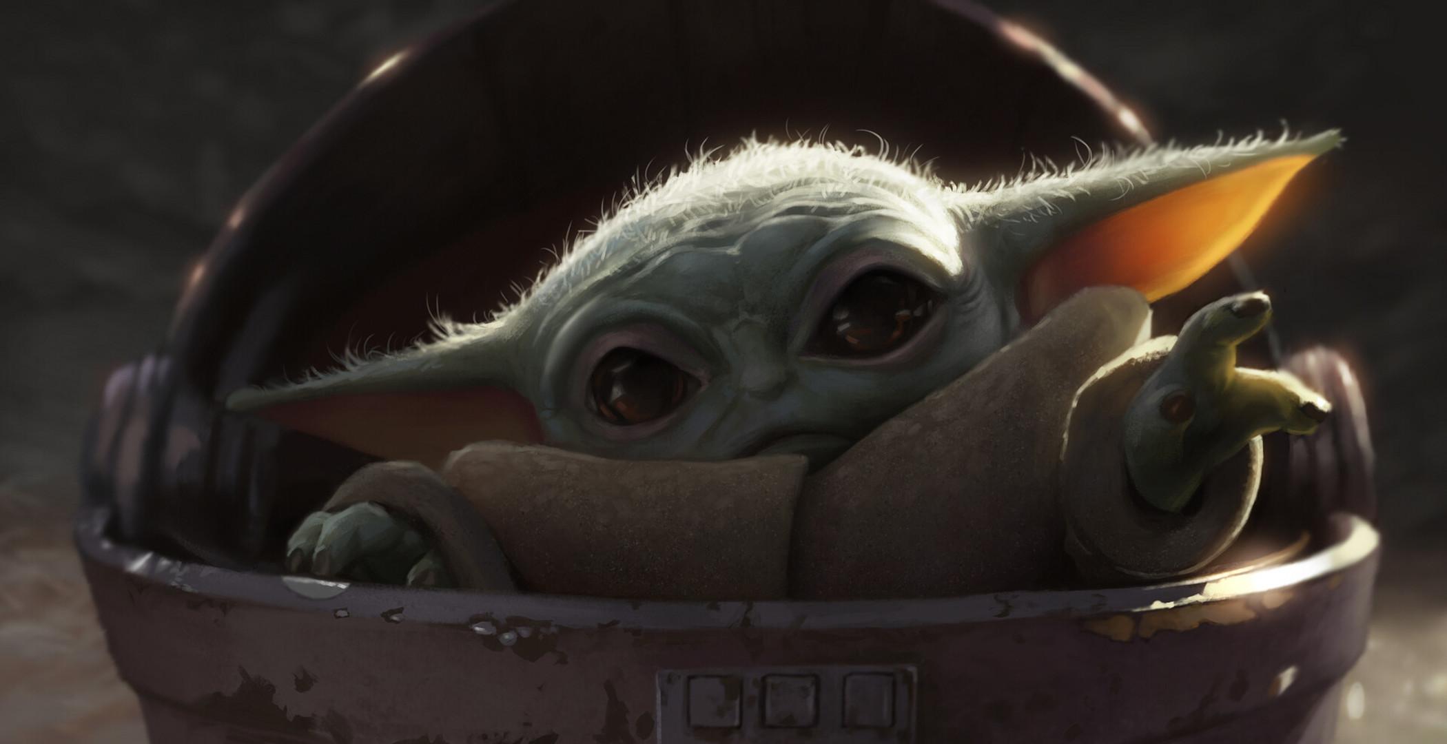 General 2100x1080 The Mandalorian Star Wars Baby Yoda Grogu digital art