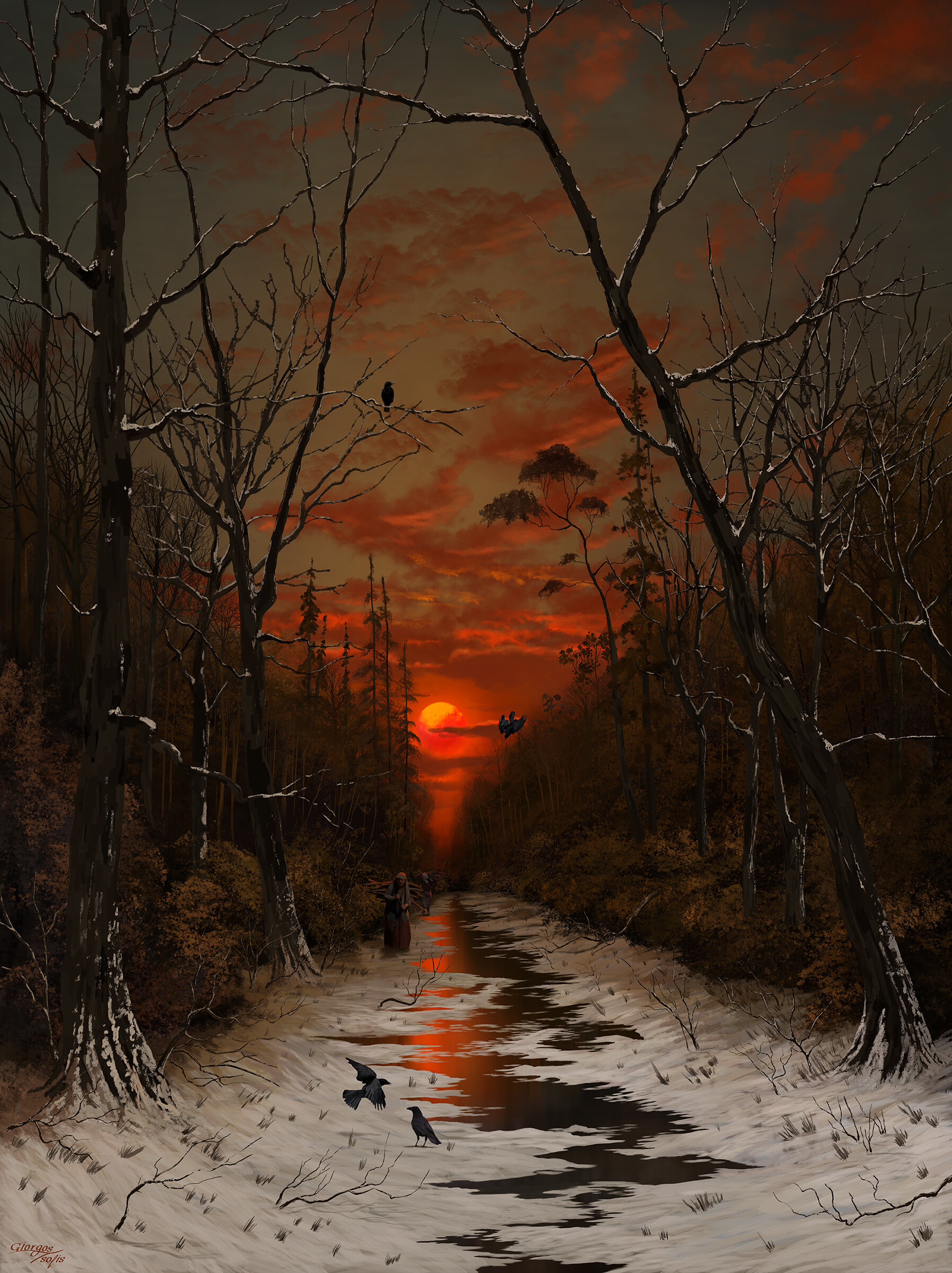 General 1795x2400 portrait display sunset digital art digital painting tree bark red sky fan art artwork Giorgos Tsolis