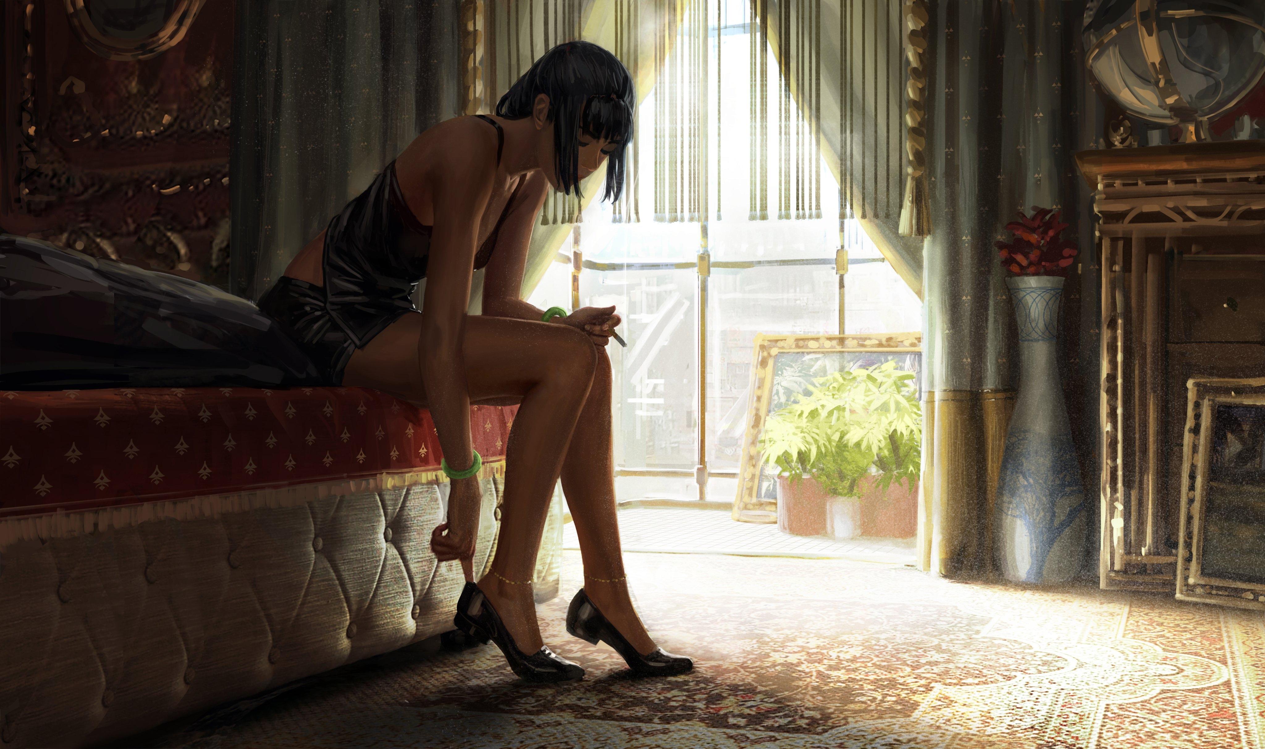 Anime 4096x2426 anime Bad guys women legs smoking cigarettes