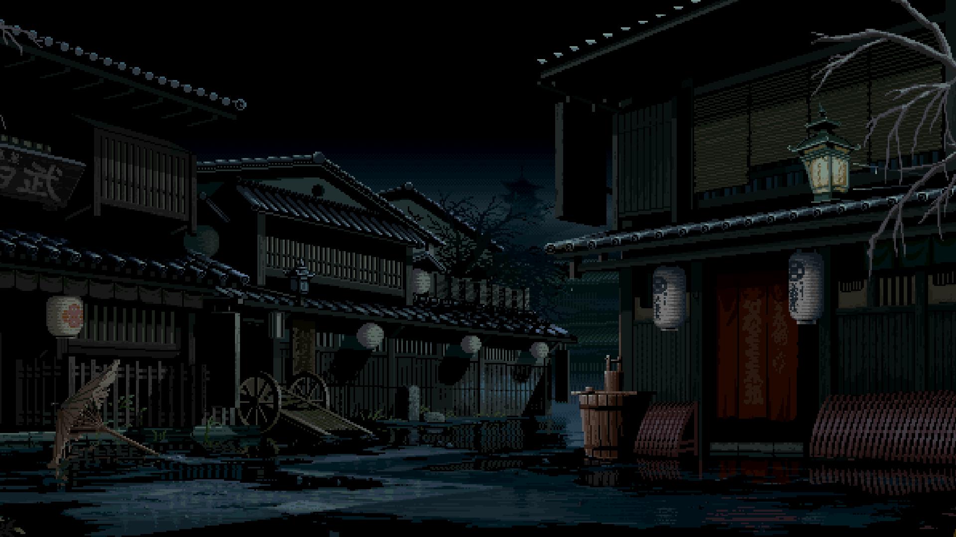 General 1920x1080 digital art pixel art pixelated pixels nature landscape Asian architecture house video games retro games 8-bit street night The Last Blade