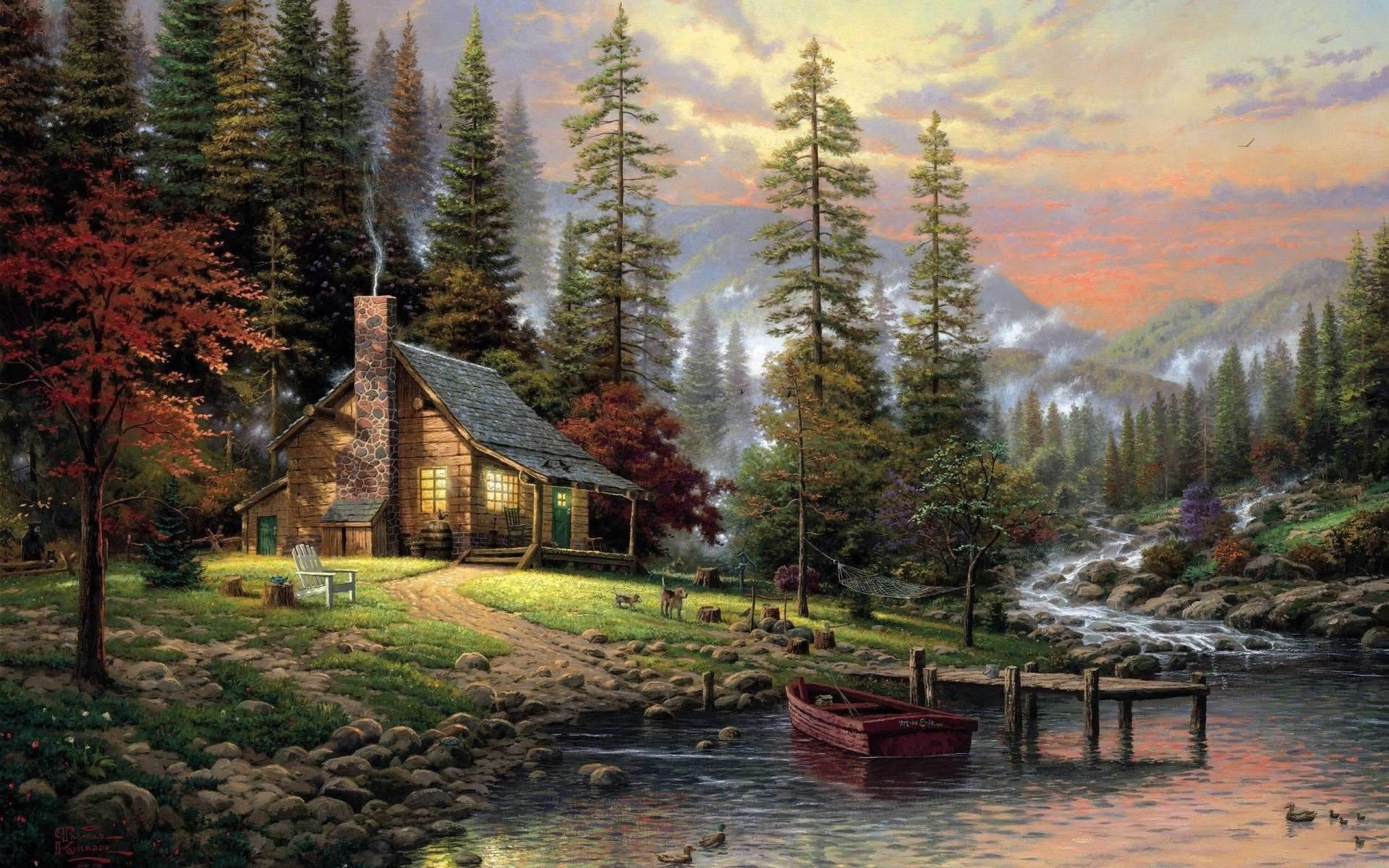 General 1920x1200 nature landscape painting artwork trees forest clouds Thomas Kinkade house mountains sunset river boat pier dog mist stones cabin