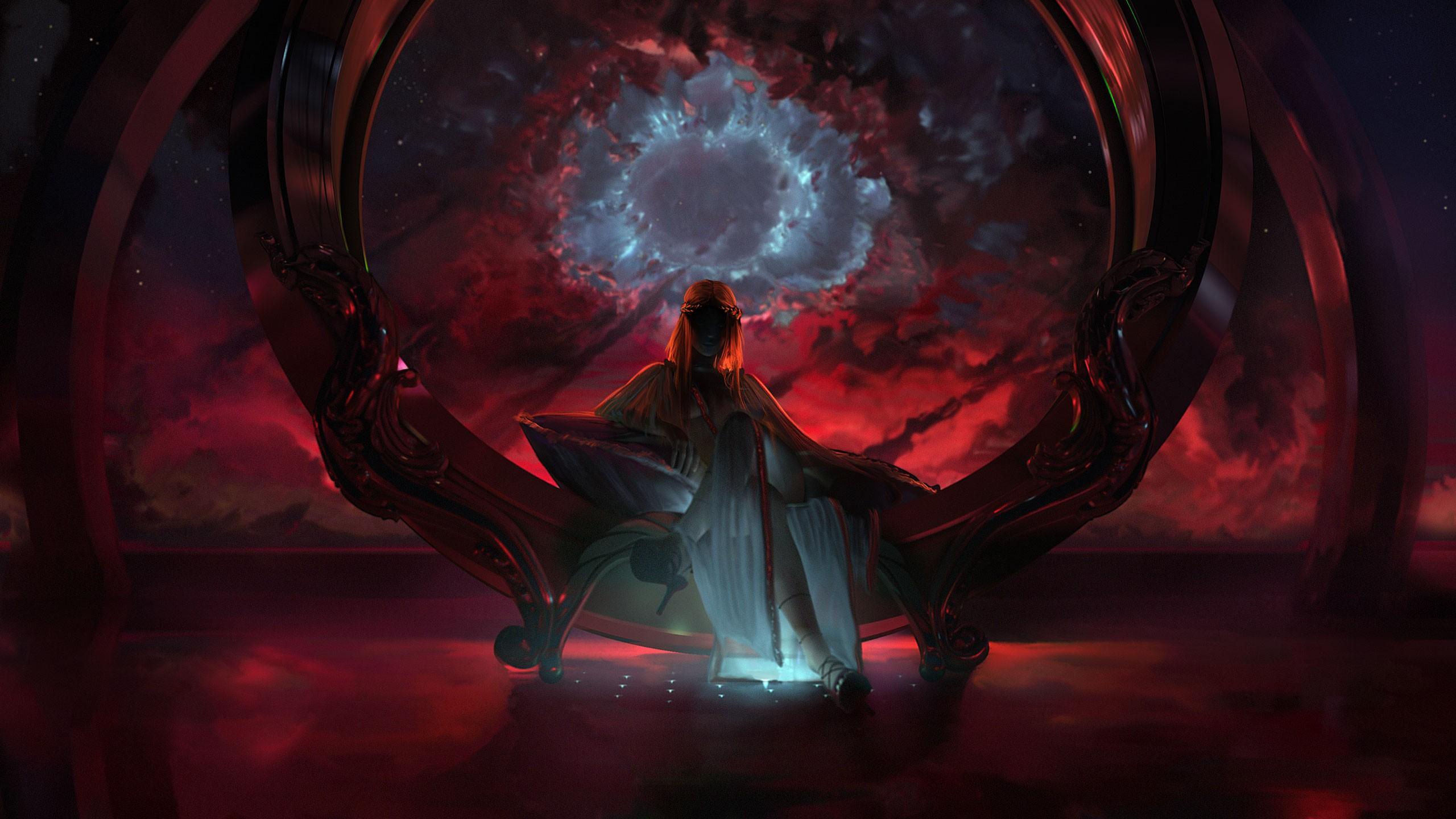General 2560x1440 fantasy art futuristic dark space legs crossed