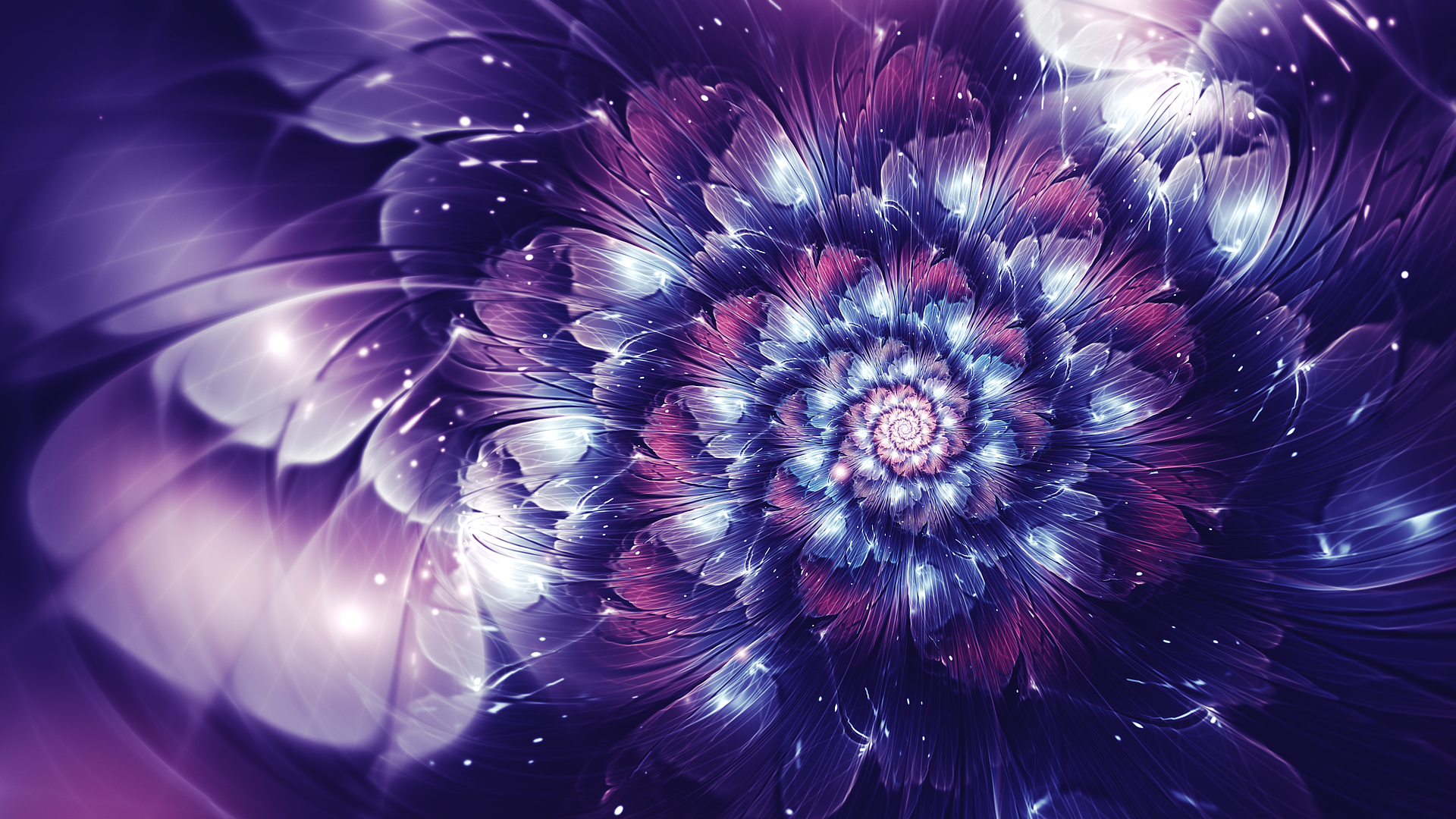 General 1920x1080 abstract fractal fractal flowers glowing digital art violet