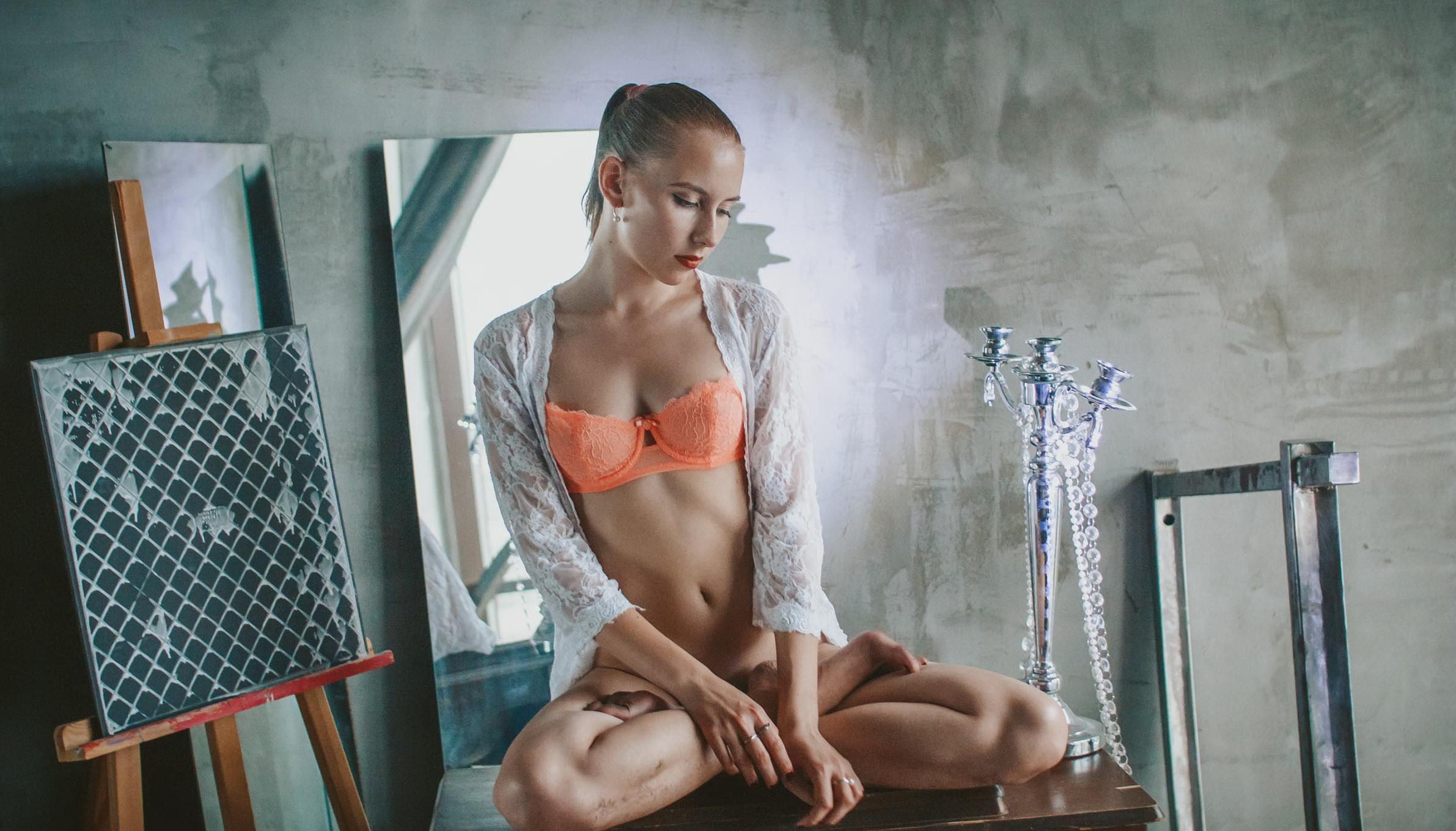 People 2382x1360 women sitting legs crossed bra bottomless