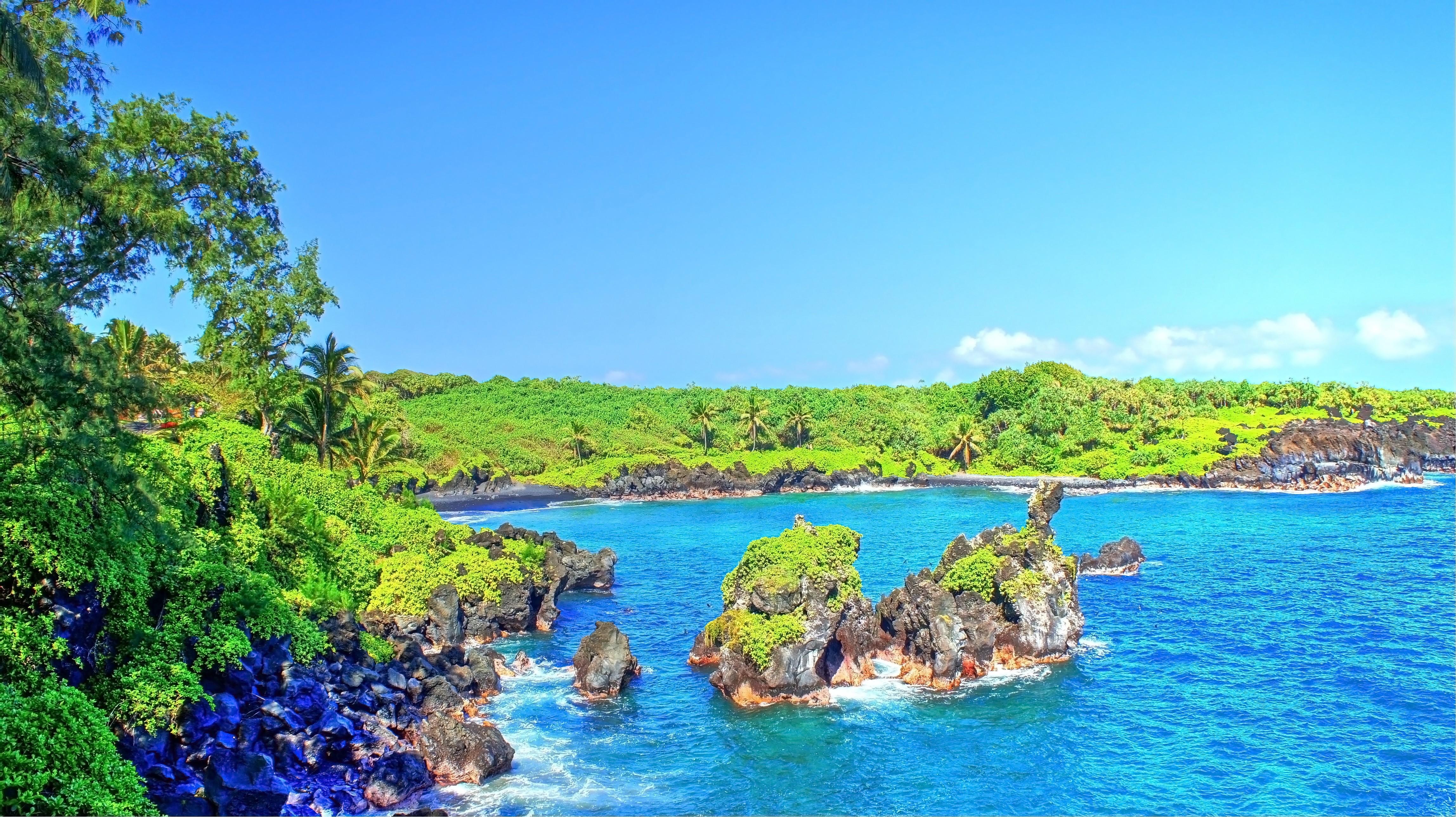 General 4592x2576 tropical water tropical forest Hawaii isle of Maui Maui palm trees beach waterfall