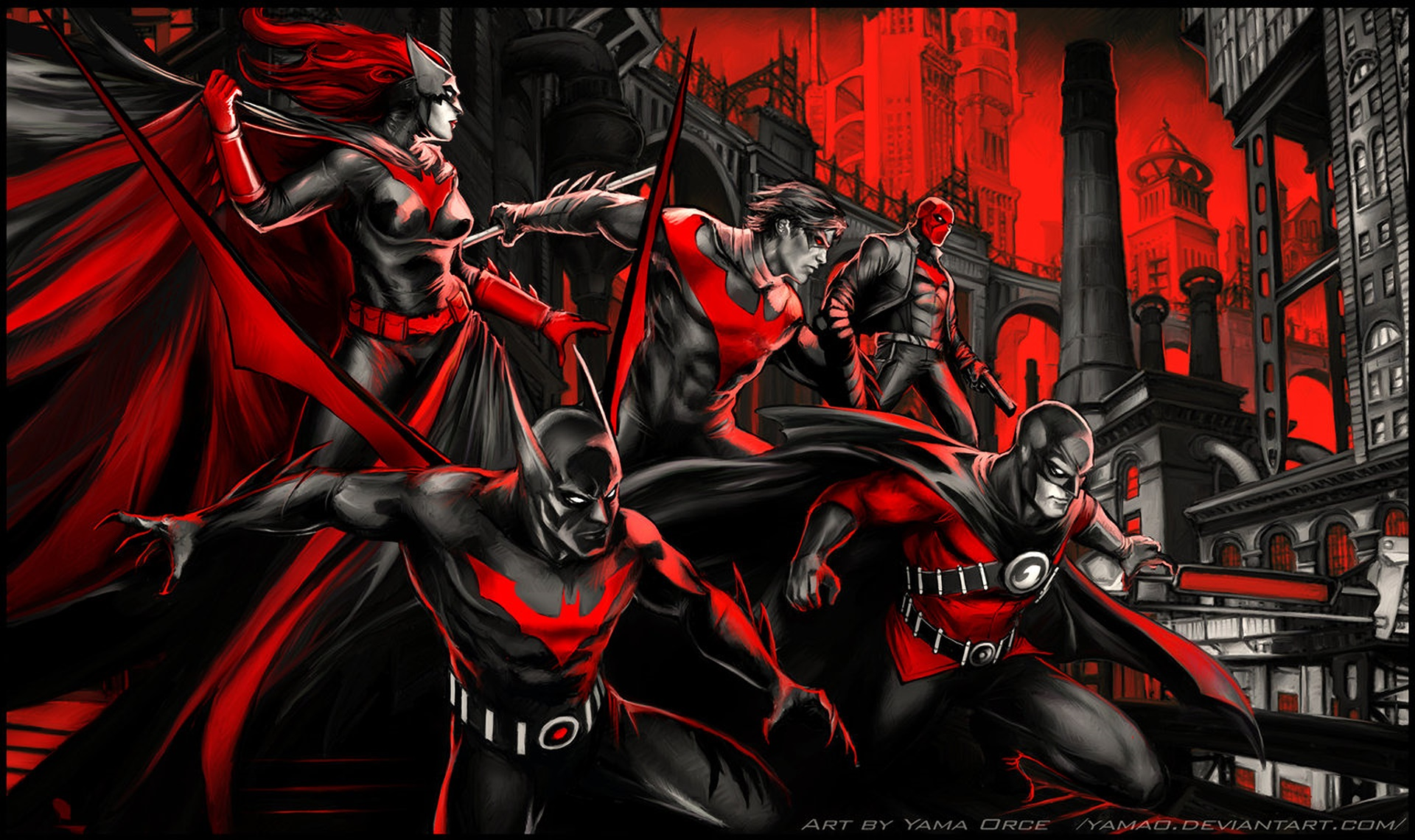 General 1920x1140 artwork fan art Batman Batwoman Nightwing Red Hood Red Robin Batman Beyond