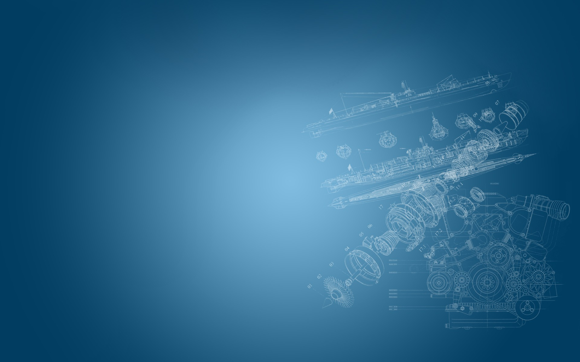 General 1920x1200 graphic design ship engines simple background blue engineering