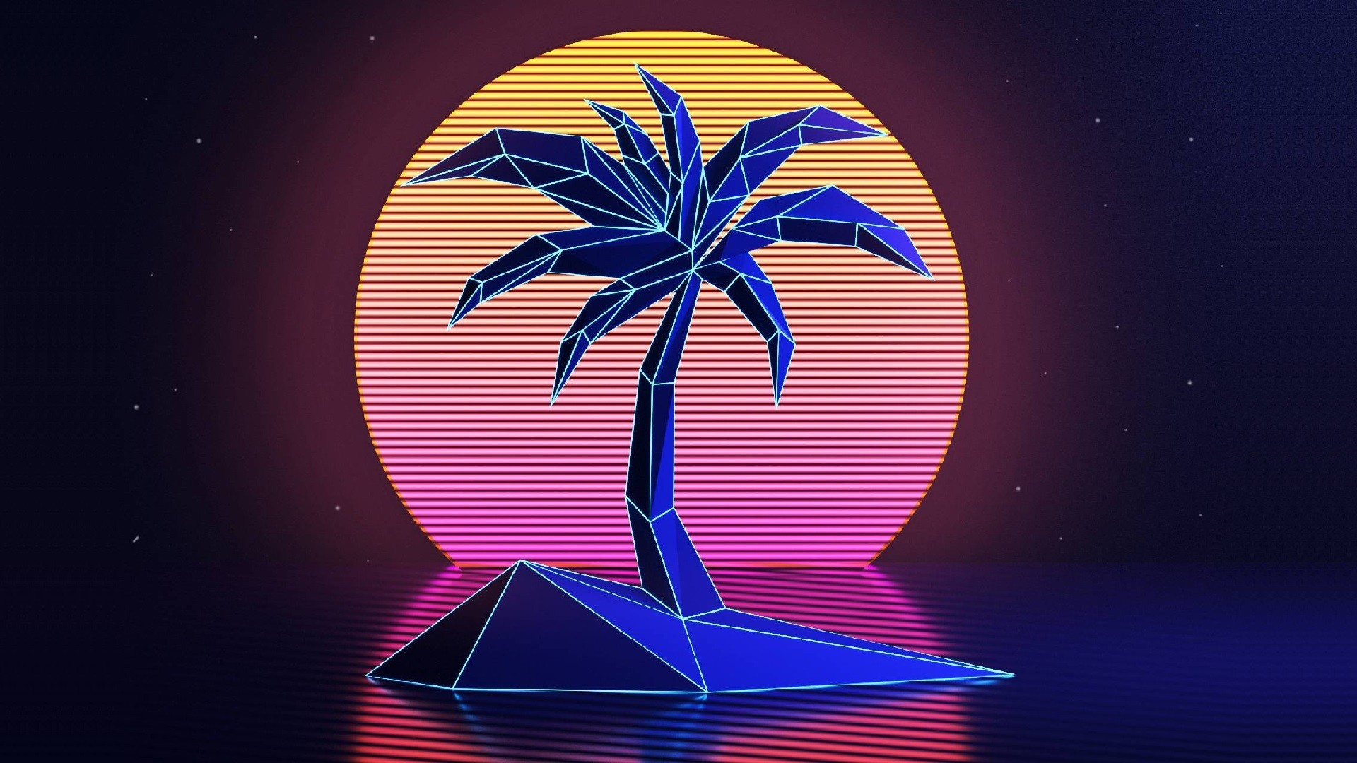 General 1920x1080 VHS palm trees 1980s New Retro Wave Retro style vintage sunset neon