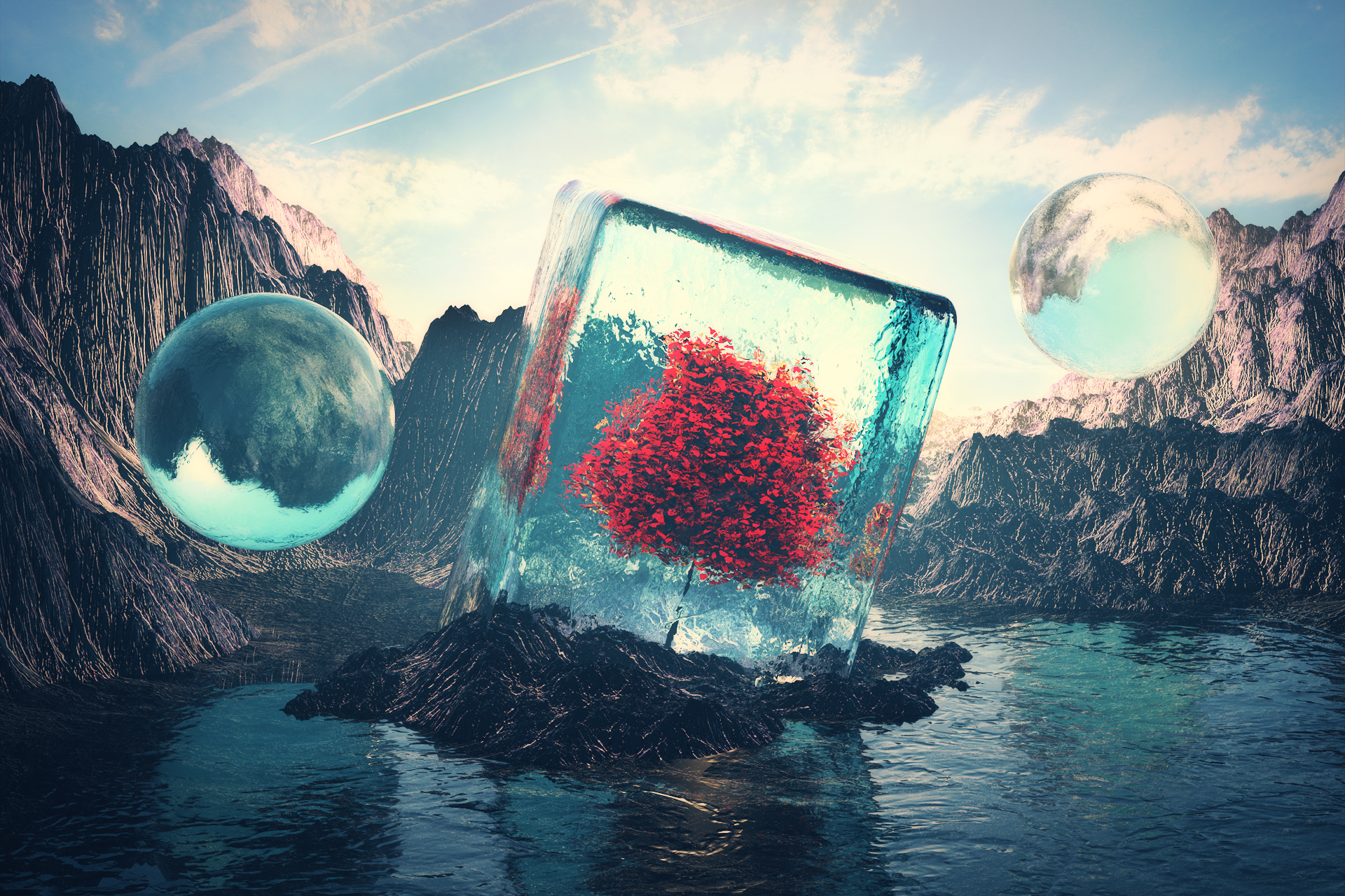 General 1920x1280 Cinema4D  landscape nature abstract digital art 3D Abstract surreal