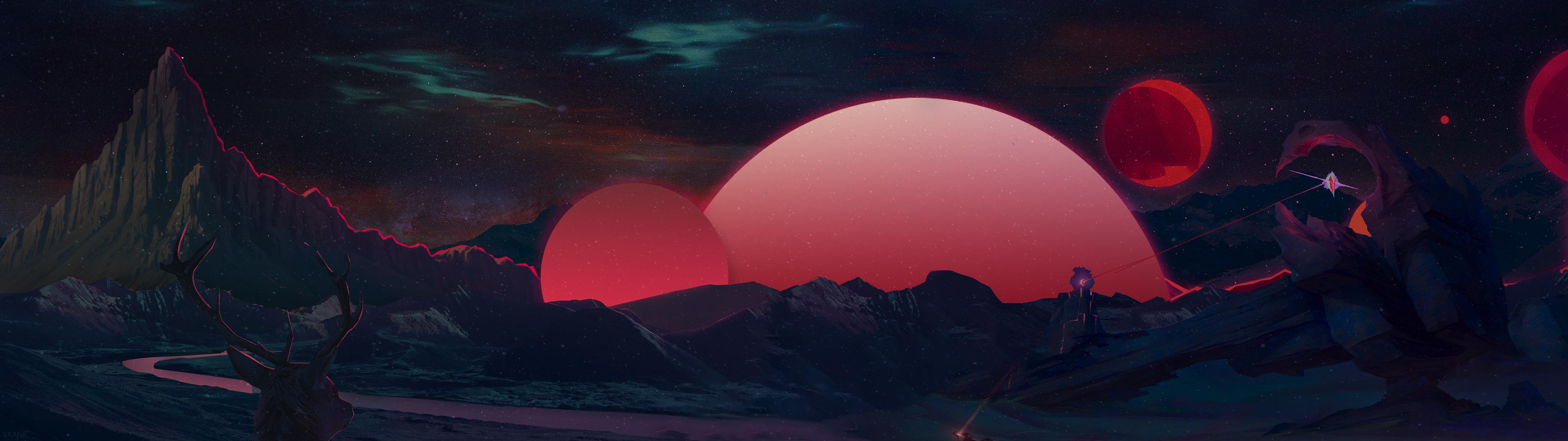 General 3840x1080 retrowave synthwave digital art planet sky dark