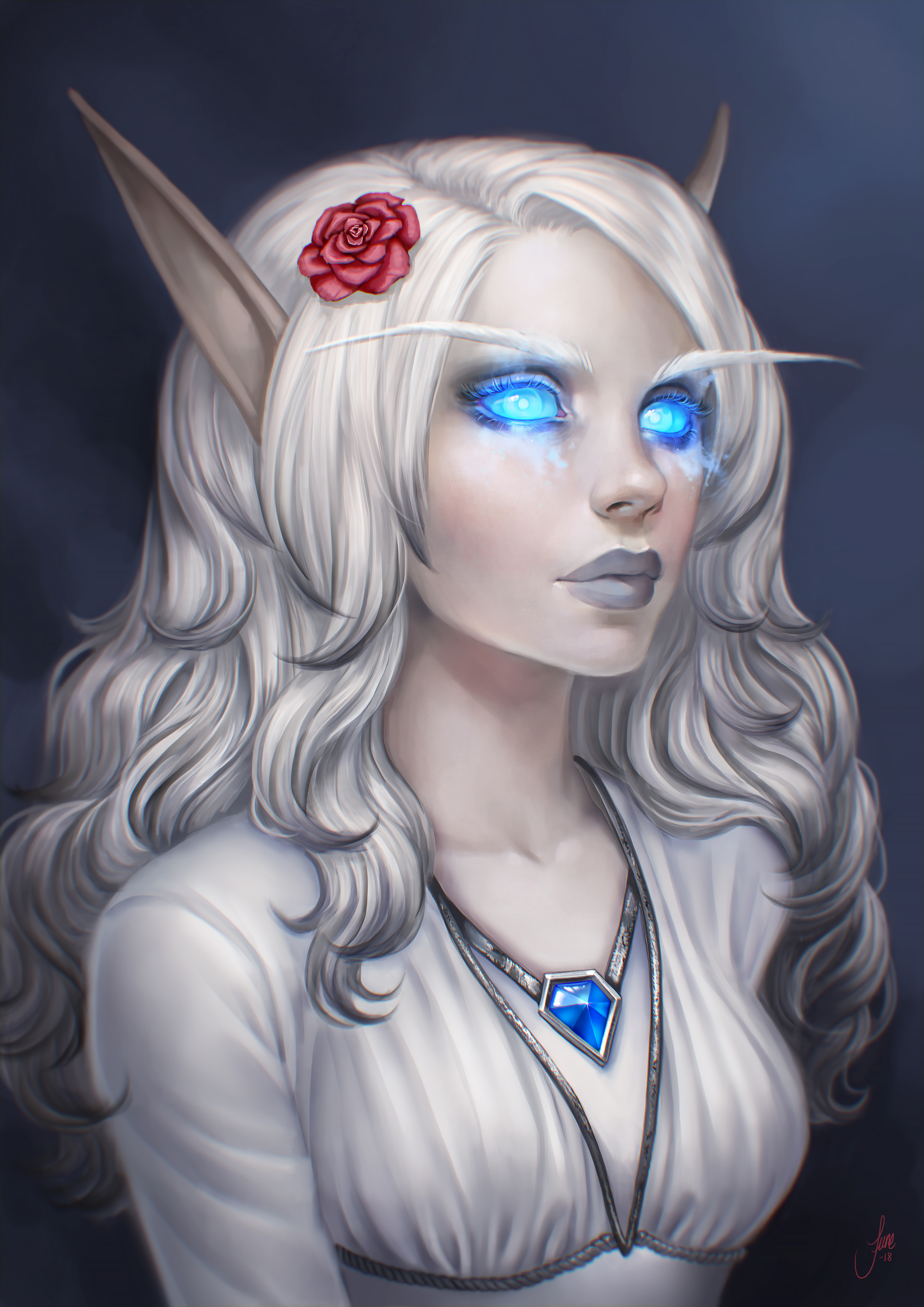 General 3508x4961 World of Warcraft fantasy girl blue eyes long hair fantasy art PC gaming necklace High Elf neon blue