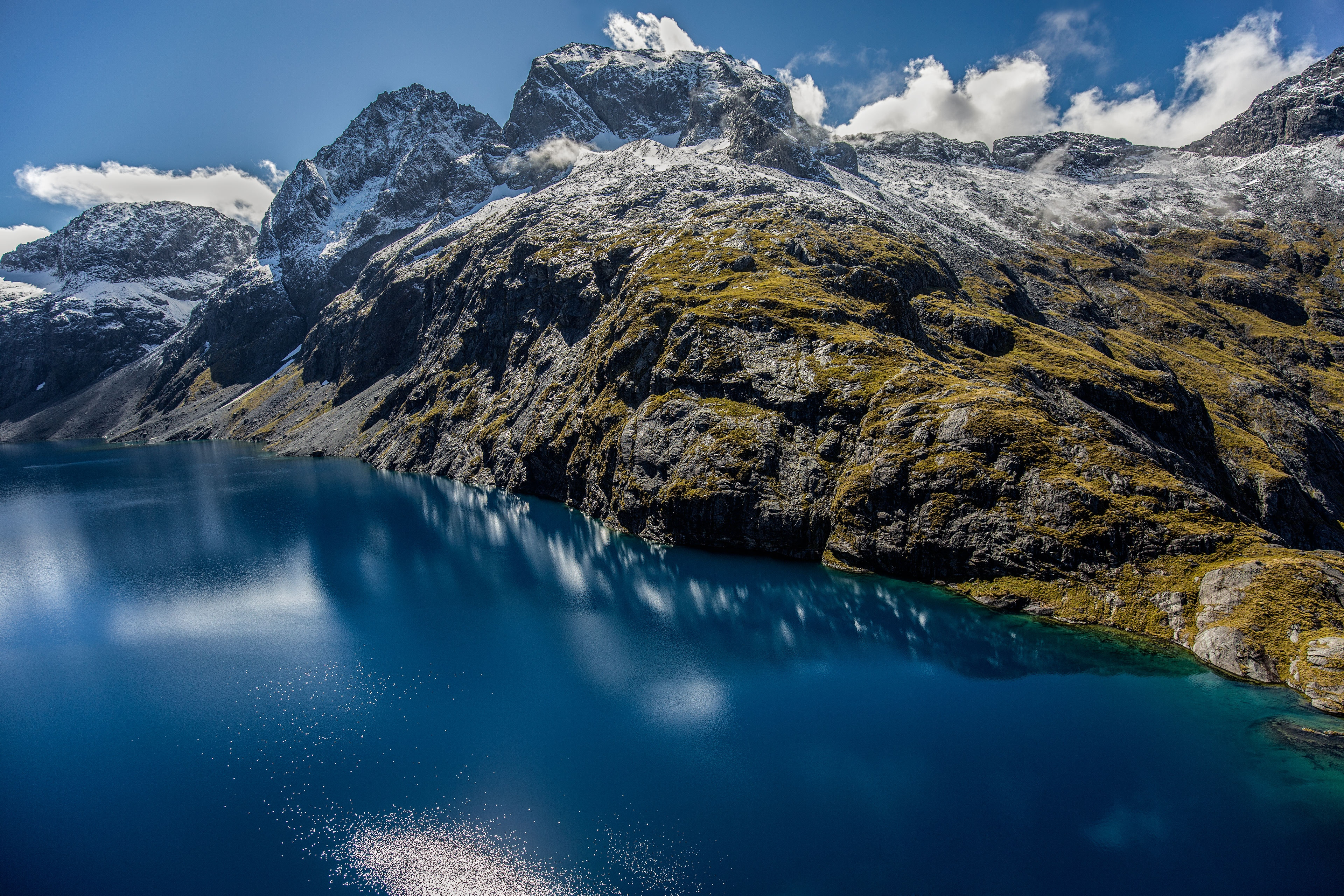 General 3840x2560 mountains rock reflection Fiordland National Park New Zealand river clouds nature landscape