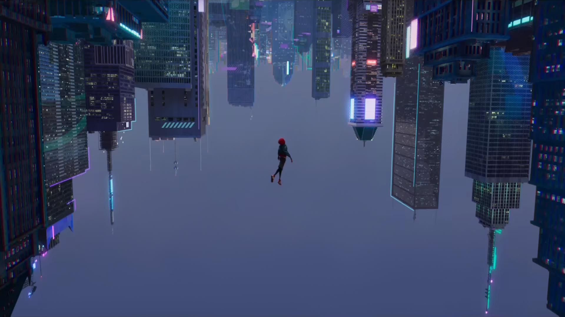 General 1920x1080 Spider-Man skyscraper neon lights Miles Morales