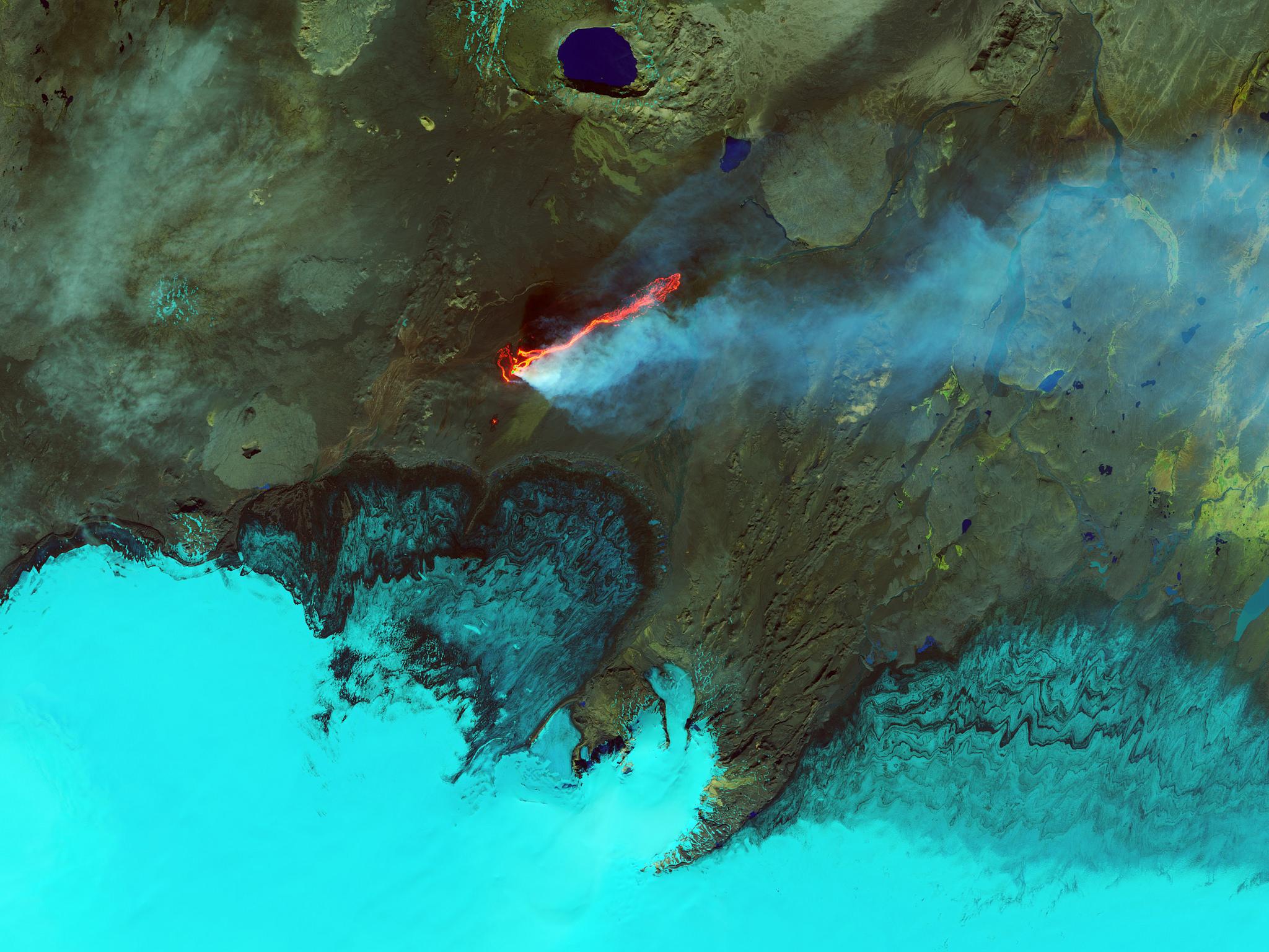 General 2048x1536 nature landscape water aerial view sea coast lake volcano eruption smoke lava NASA Iceland mountains