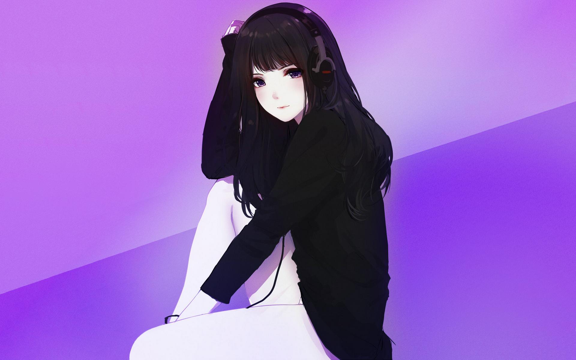Anime 1920x1200 simple background headphones original characters