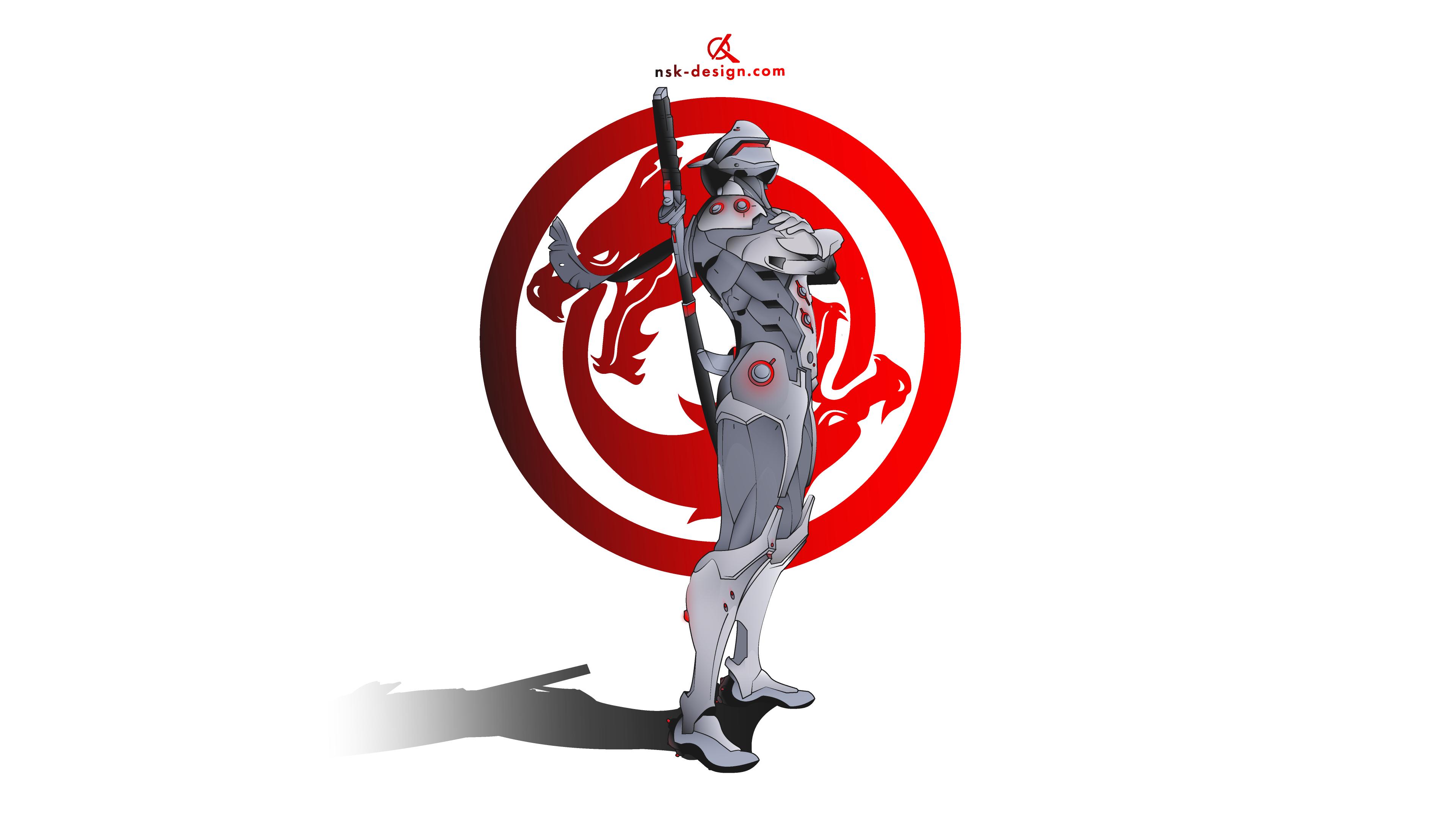 General 3840x2160 Overwatch vector graphics minimalism Genji Genji (Overwatch) Blizzard Entertainment illustration Genji Shimada vector dragon