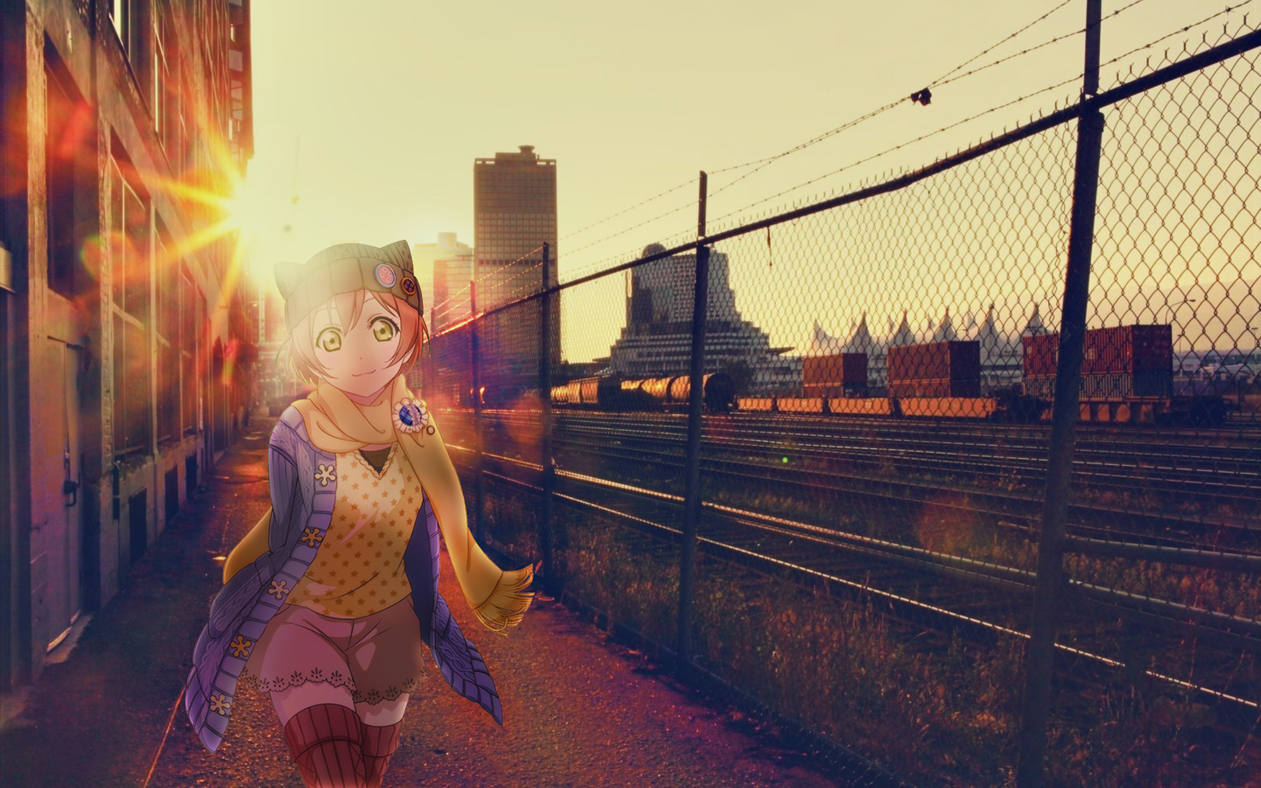 Anime 2560x1600 anime girls cityscape Love Live! Hoshizora Rin