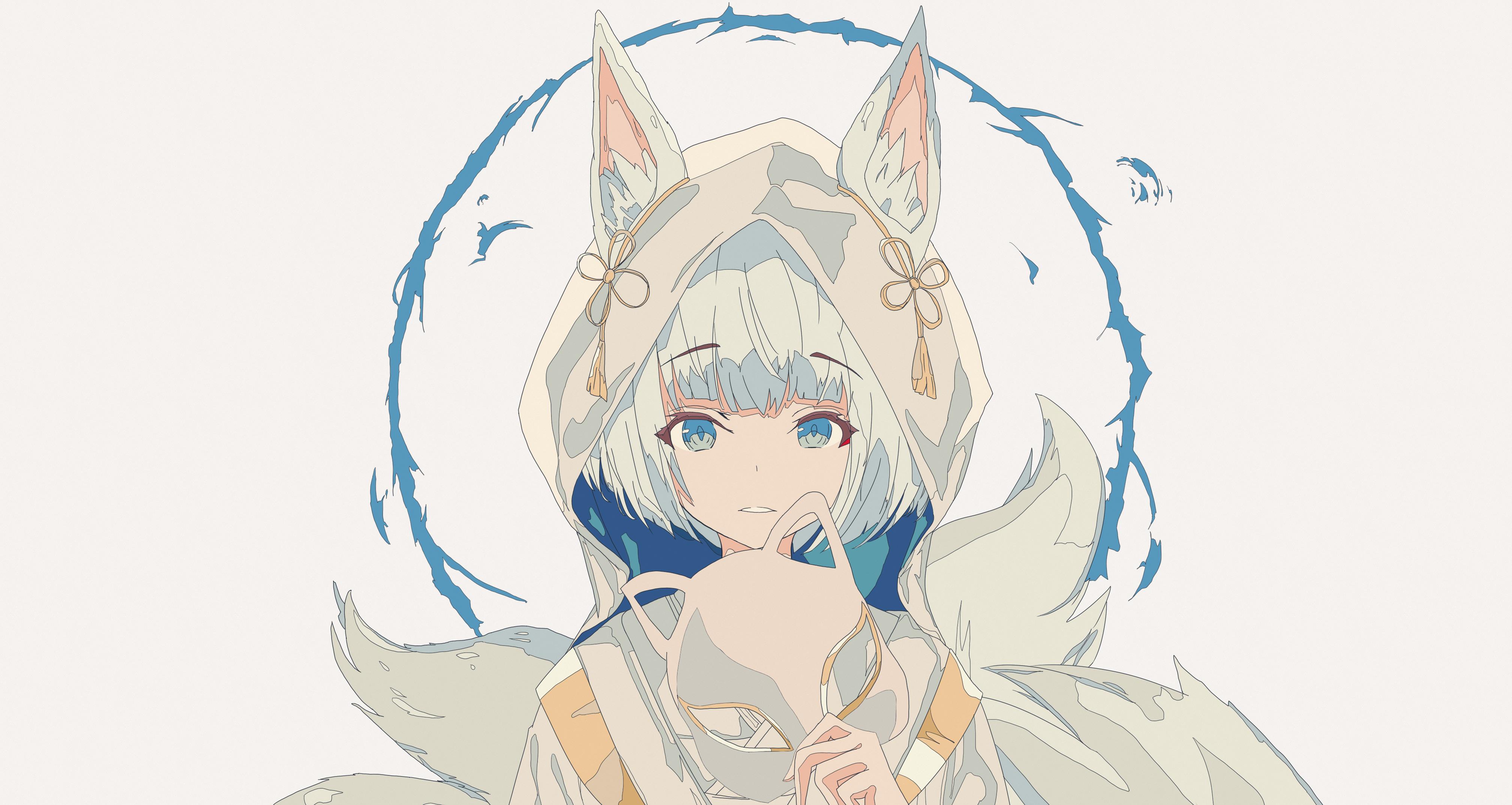 Anime 4035x2149 anime anime girls digital art artwork portrait simple background fox girl fox ears animal ears short hair white hair blue eyes Azur Lane Kaga (Azur Lane)