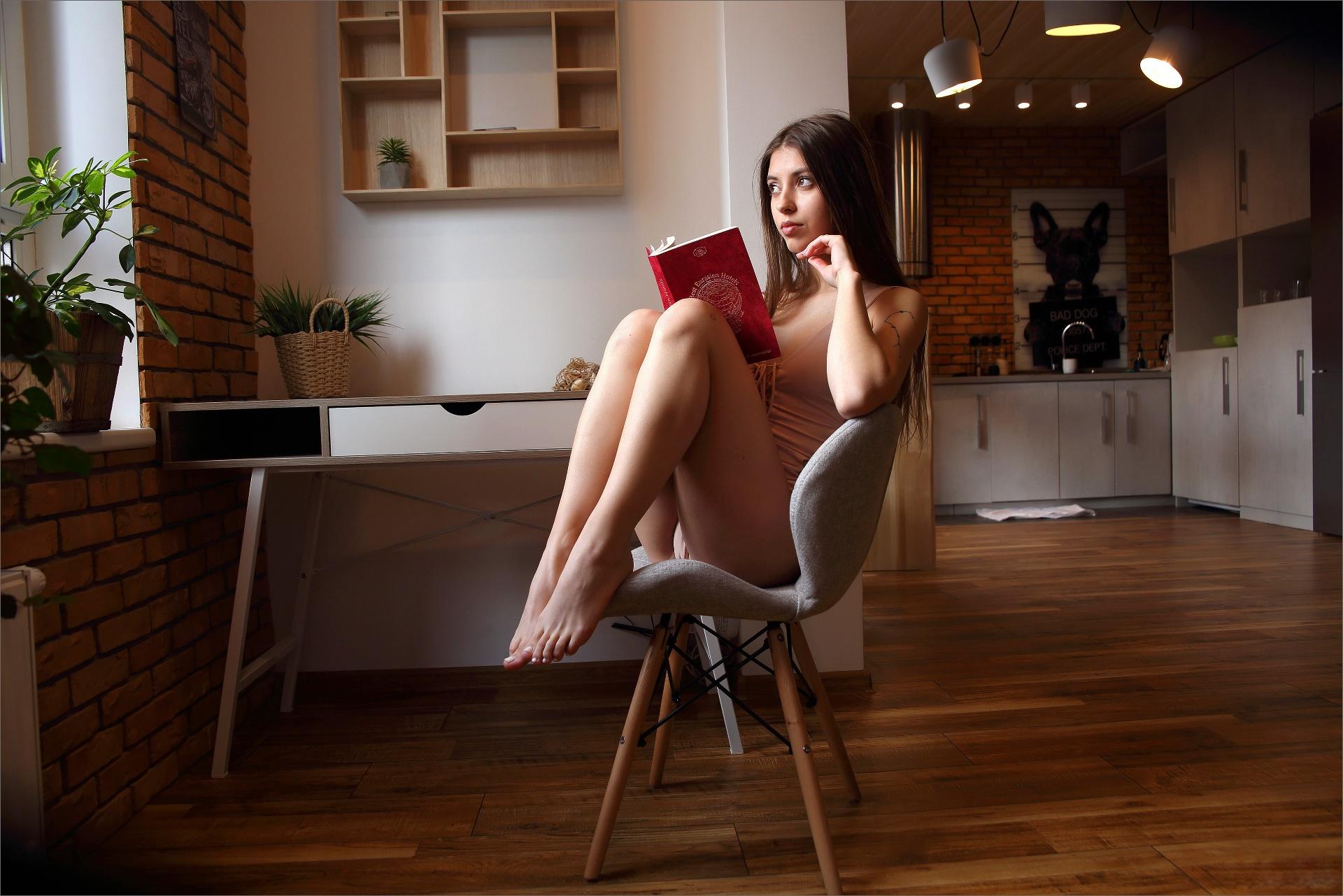 People 1920x1281 women barefoot books chair women indoors dark hair brunette reading