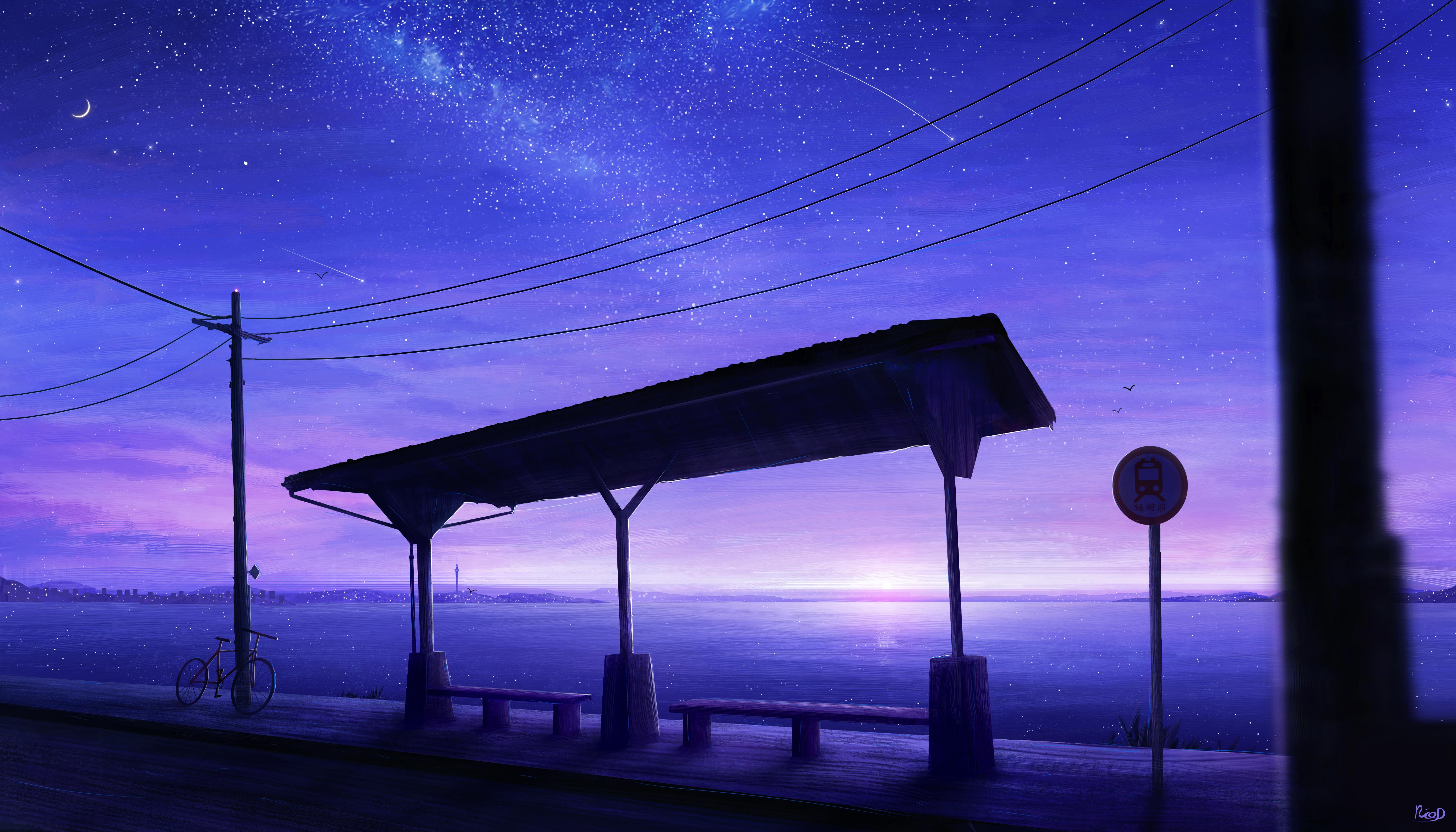General 5497x3145 RicoDZ stars bus stop shooting stars power lines bicycle sea sunset digital art bench