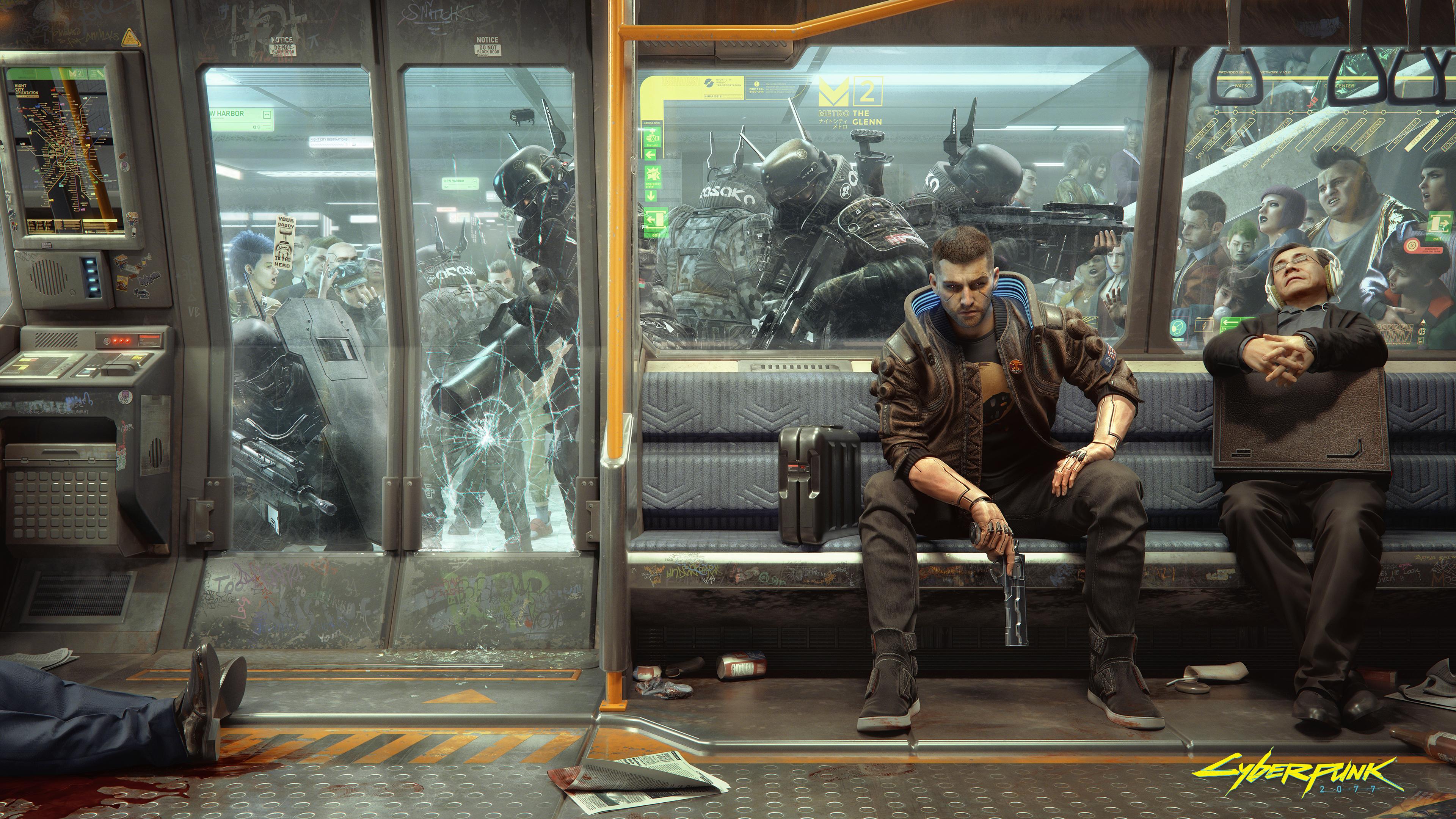 General 3840x2160 Cyberpunk 2077 CD Projekt RED video game art futuristic cyberpunk SWAT video games train crowds