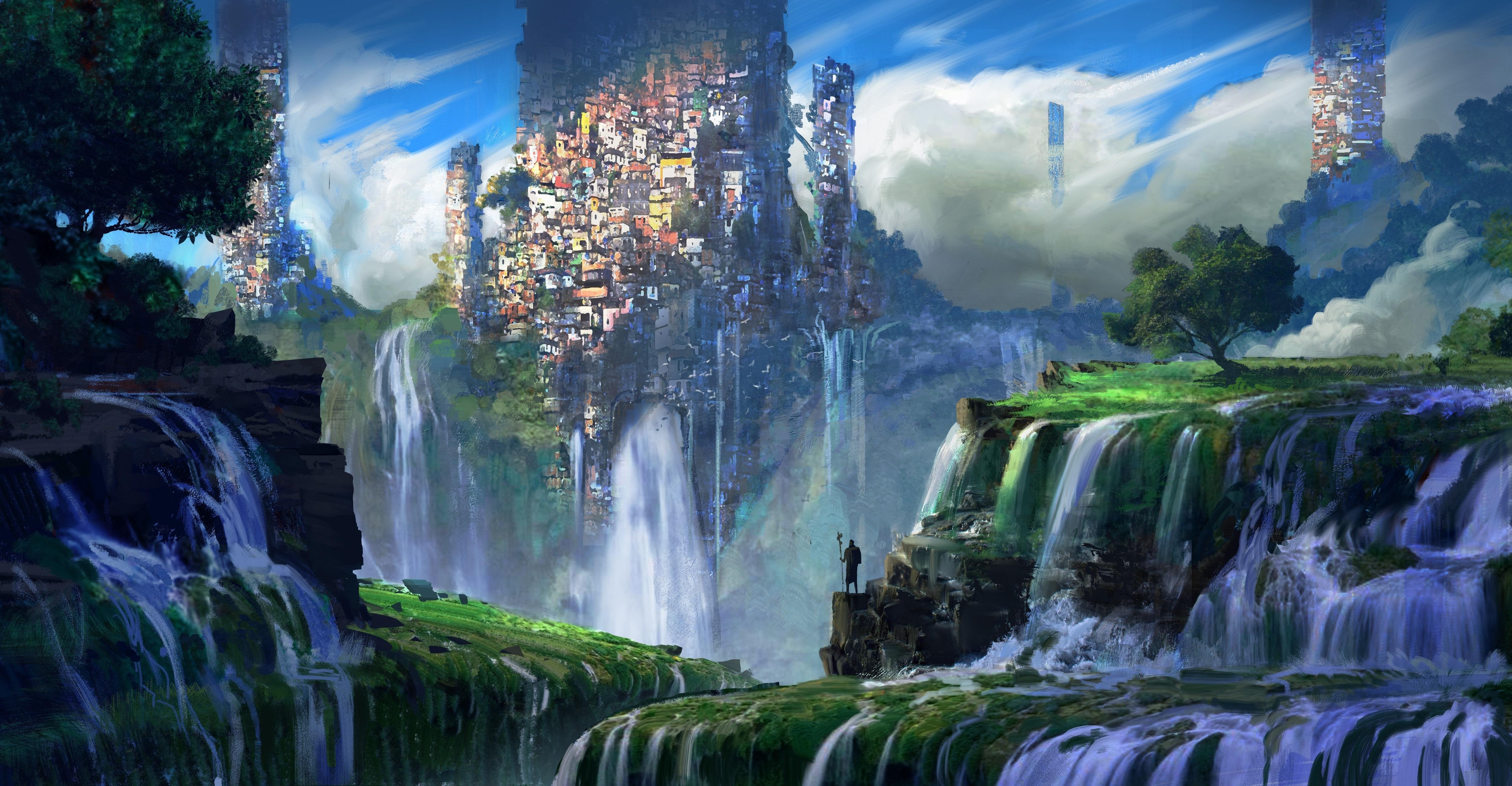 General 5000x2600 illustration favela mountains plants waterfall warrior city fantasy art landscape