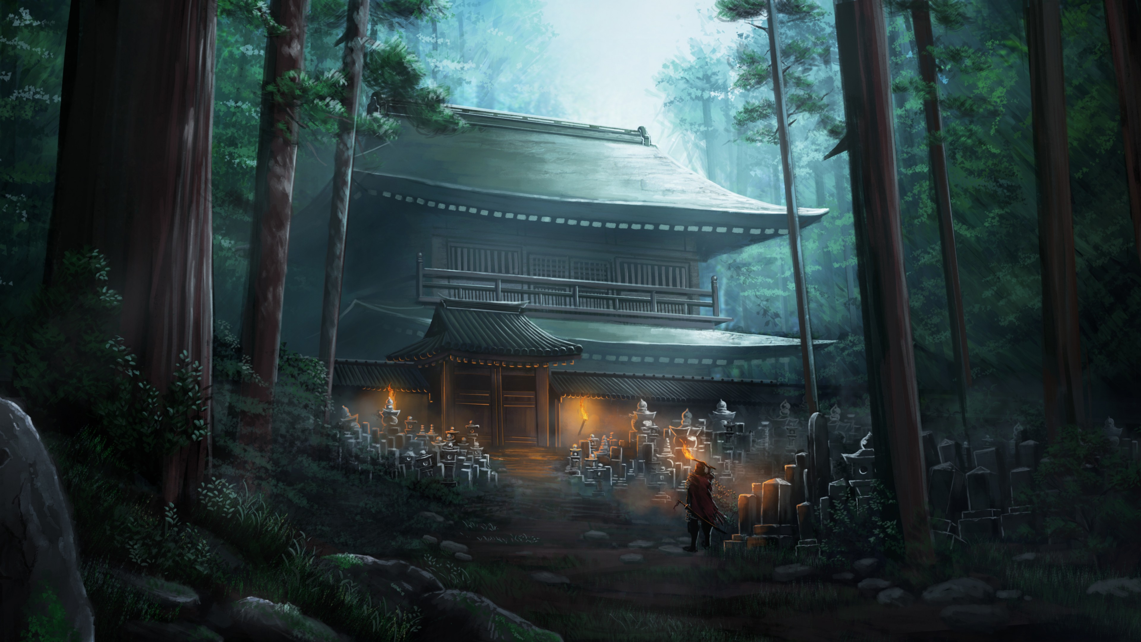 General 3840x2160 digital art soldier temple nature forest warrior fantasy art Asian Chinese architecture