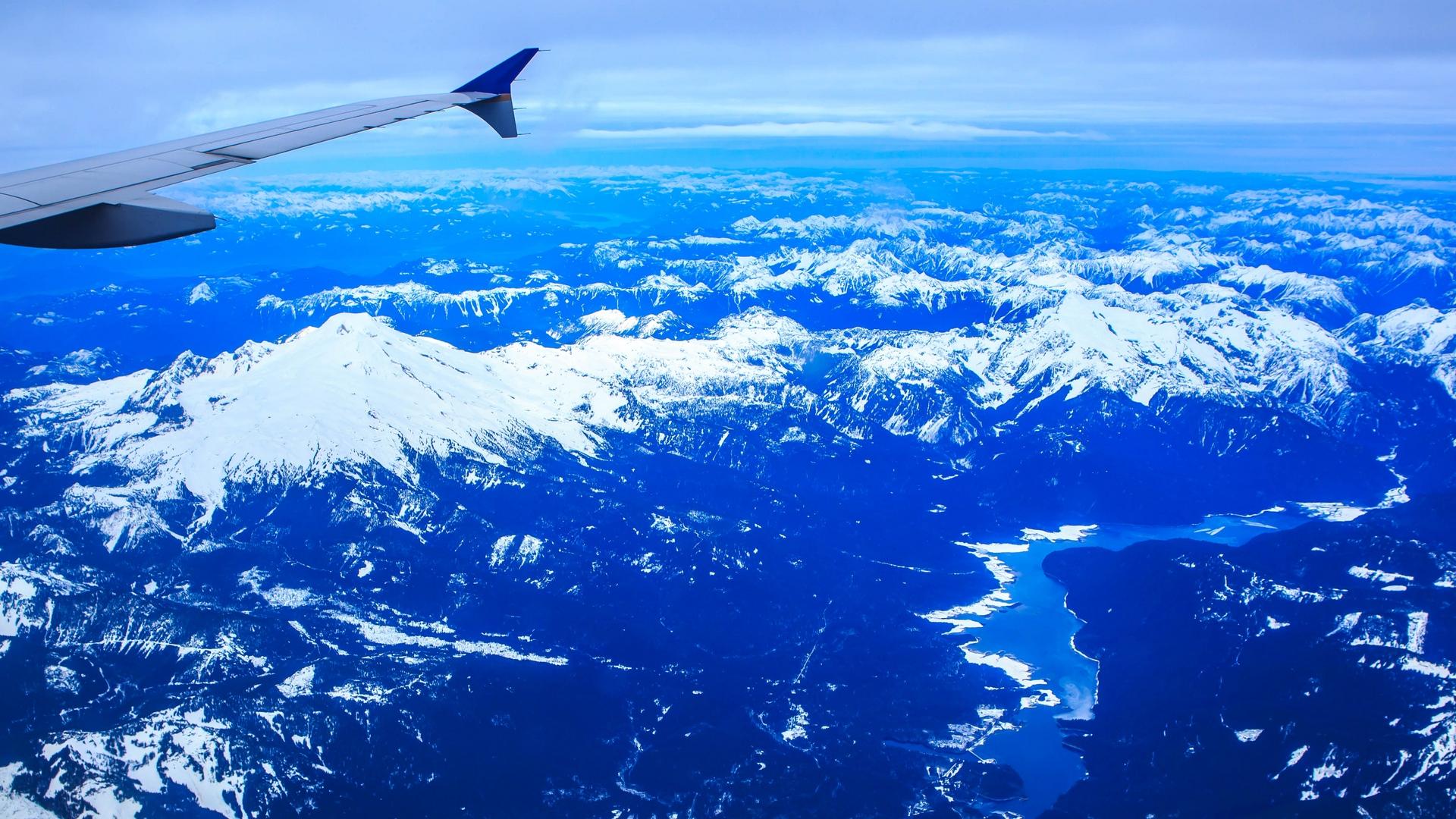 General 1920x1080 airplane airplane wing mountains peak Washington USA blue snowy peak