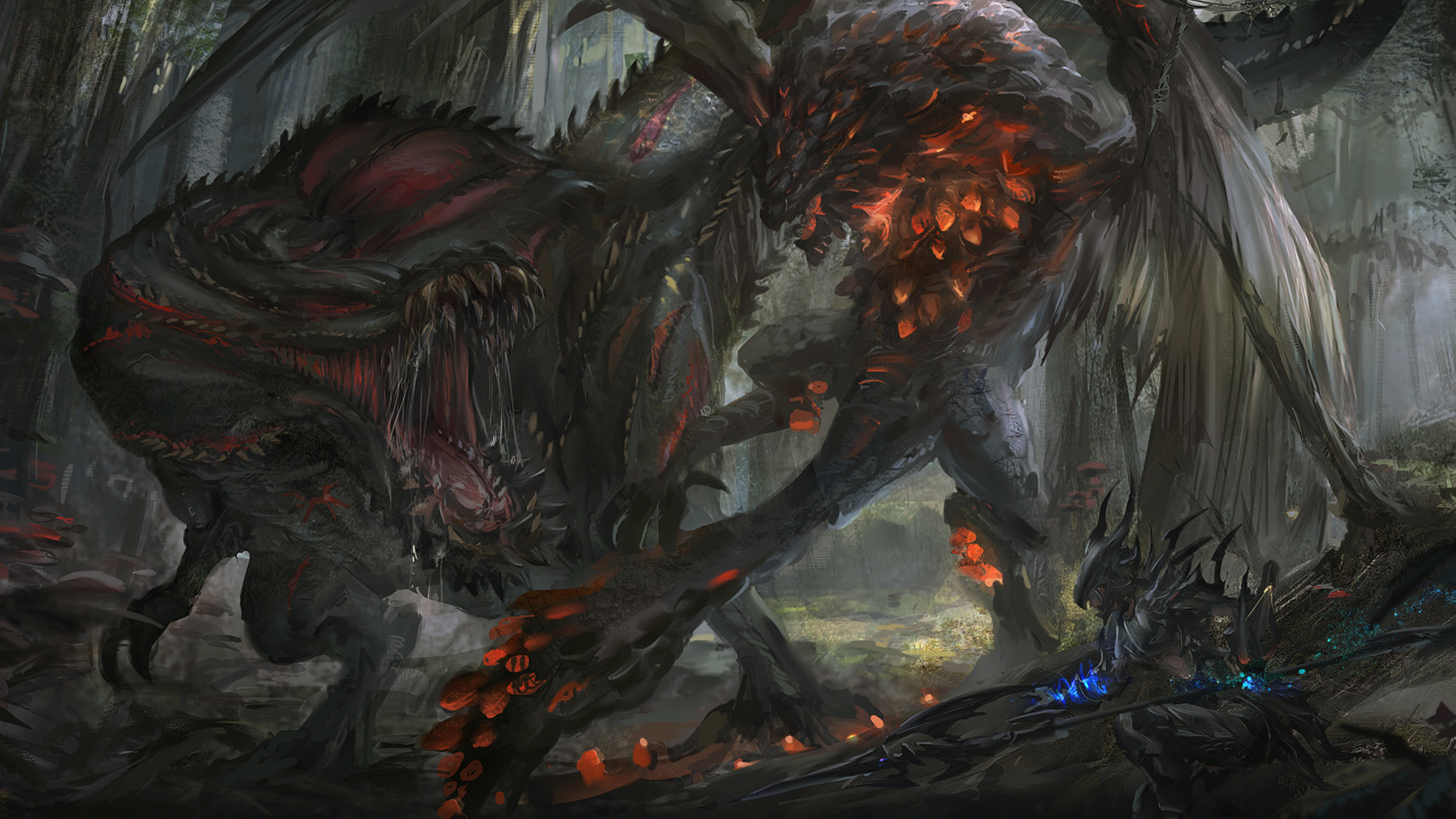 General 3840x2160 video games Monster Hunter Monster Hunter: World video game art dragon