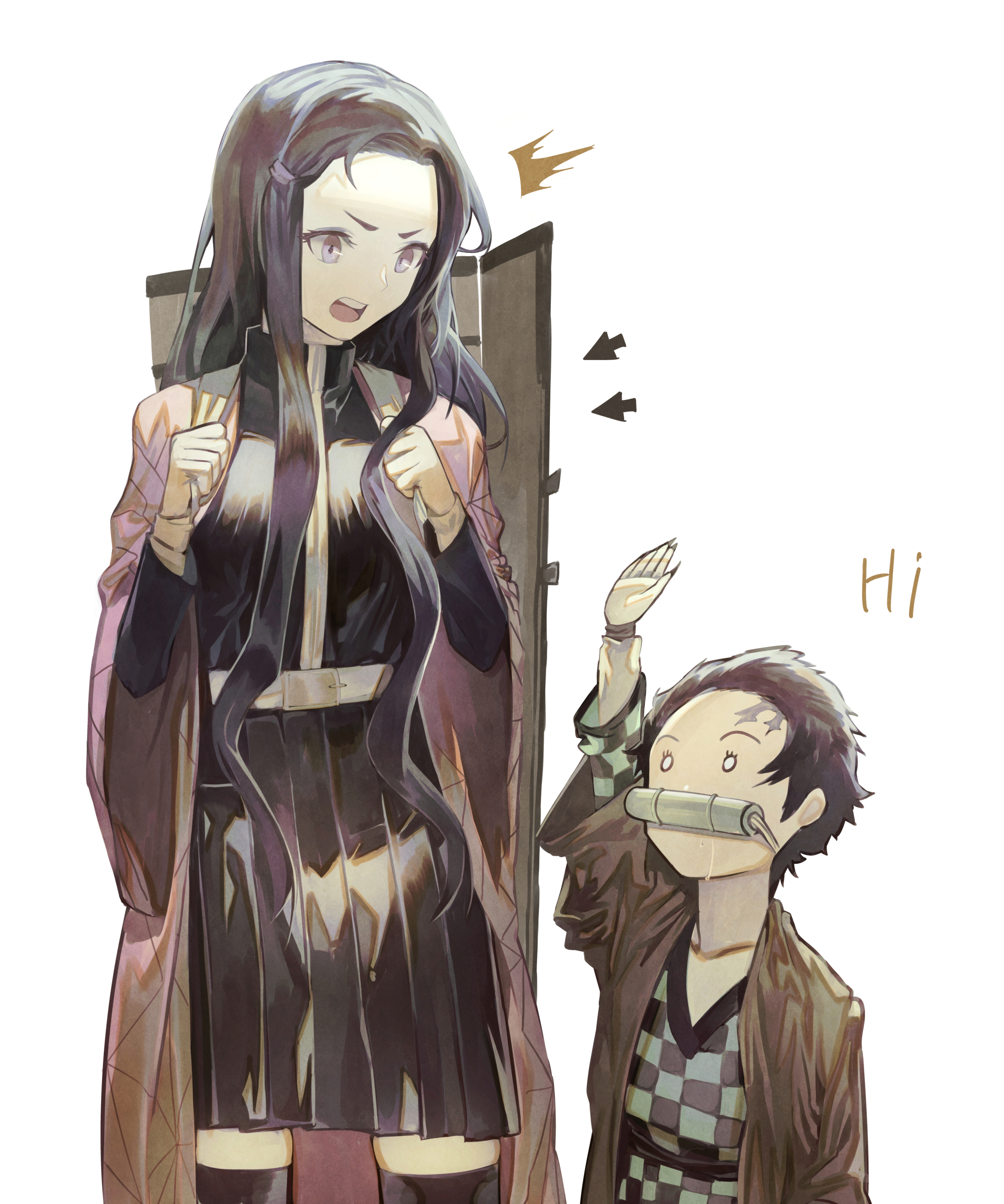 Anime 2222x2665 Kimetsu no Yaiba black hair long hair bamboo 2D fan art vertical drool simple background Kamado Nezuko Kamado Tanjirō