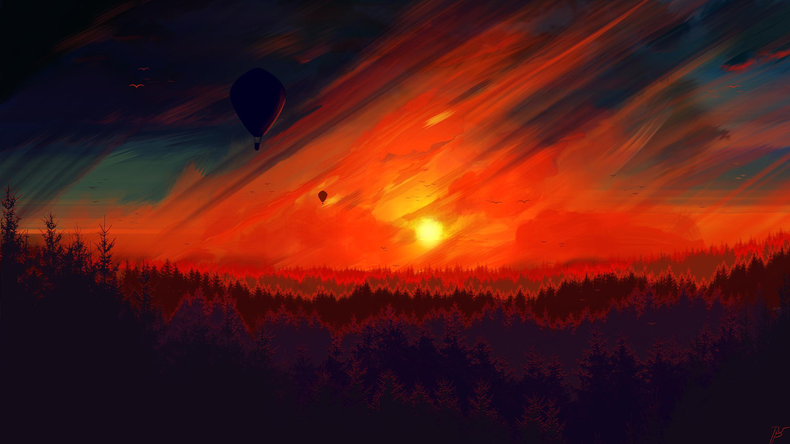 General 2560x1440 JoeyJazz sunset landscape digital digital painting hot air balloons forest birds red