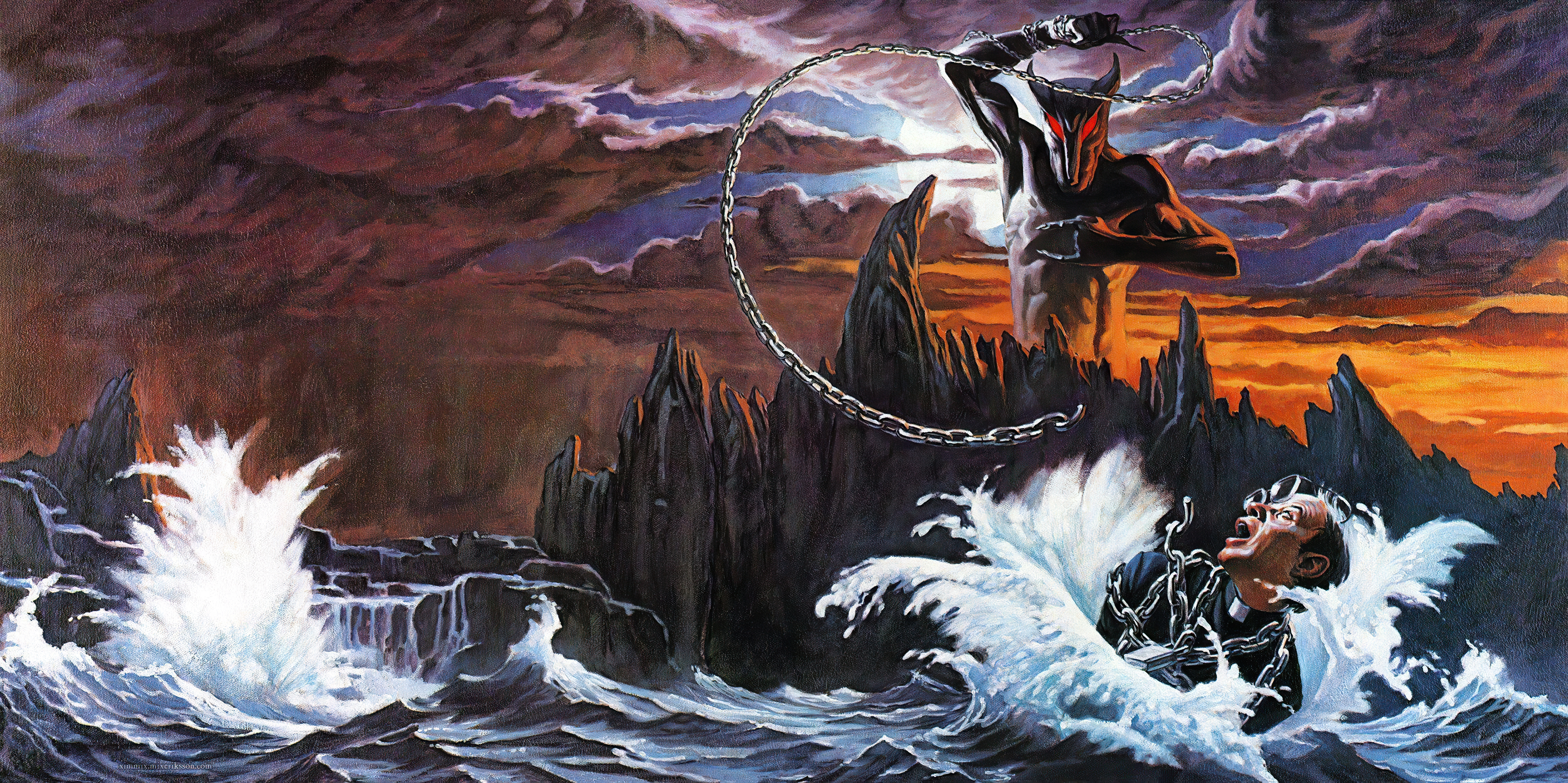 General 5002x2500 heavy metal Dio (band) cover art 6k rock music metal music horns chains in water horror metal horns hand gesture creature backlighting waves men with glasses men album covers drowning fantasy art artwork traditional art traditional heavy metal open mouth