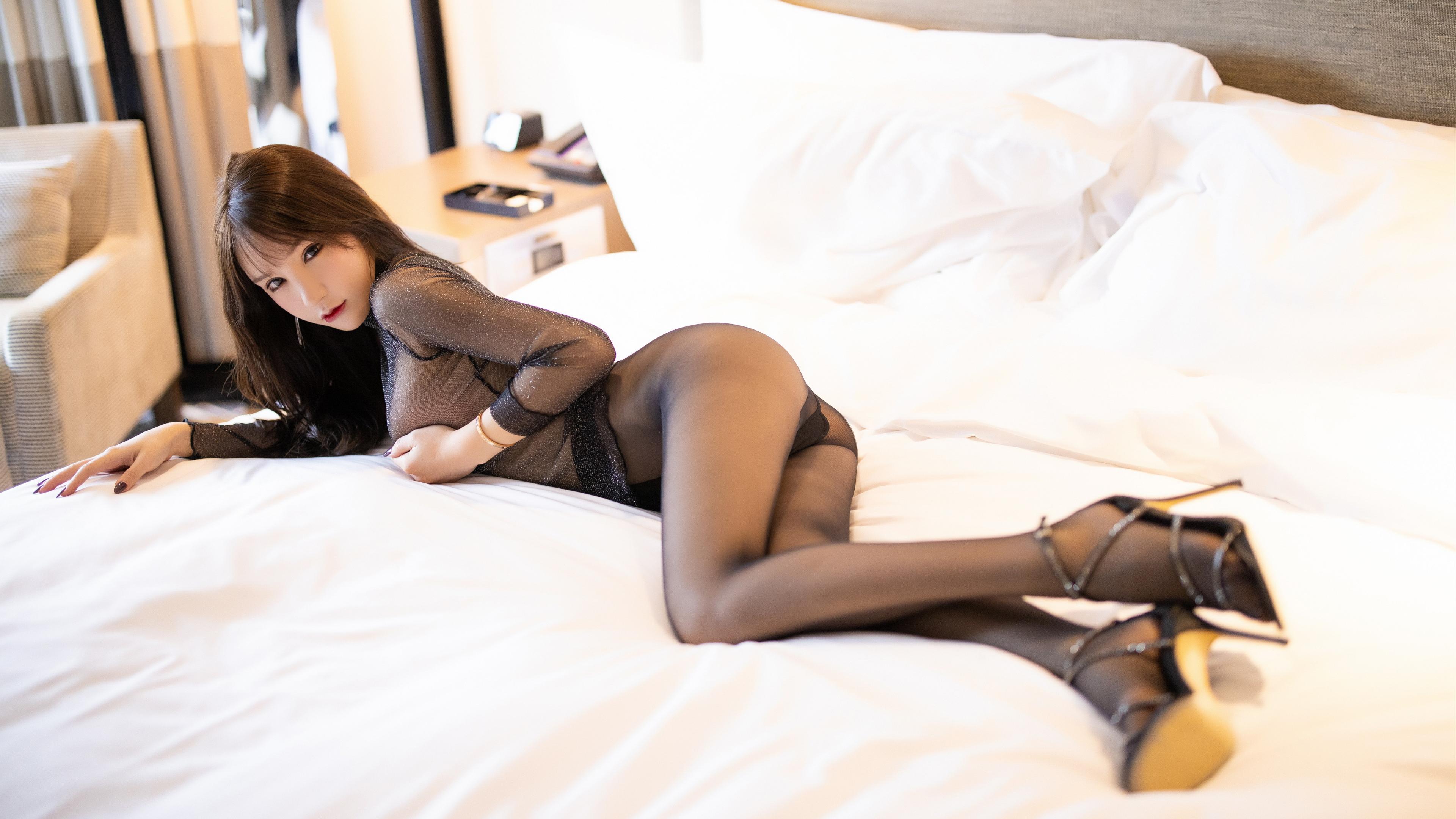People 3840x2160 women Asian model pantyhose high heels long hair