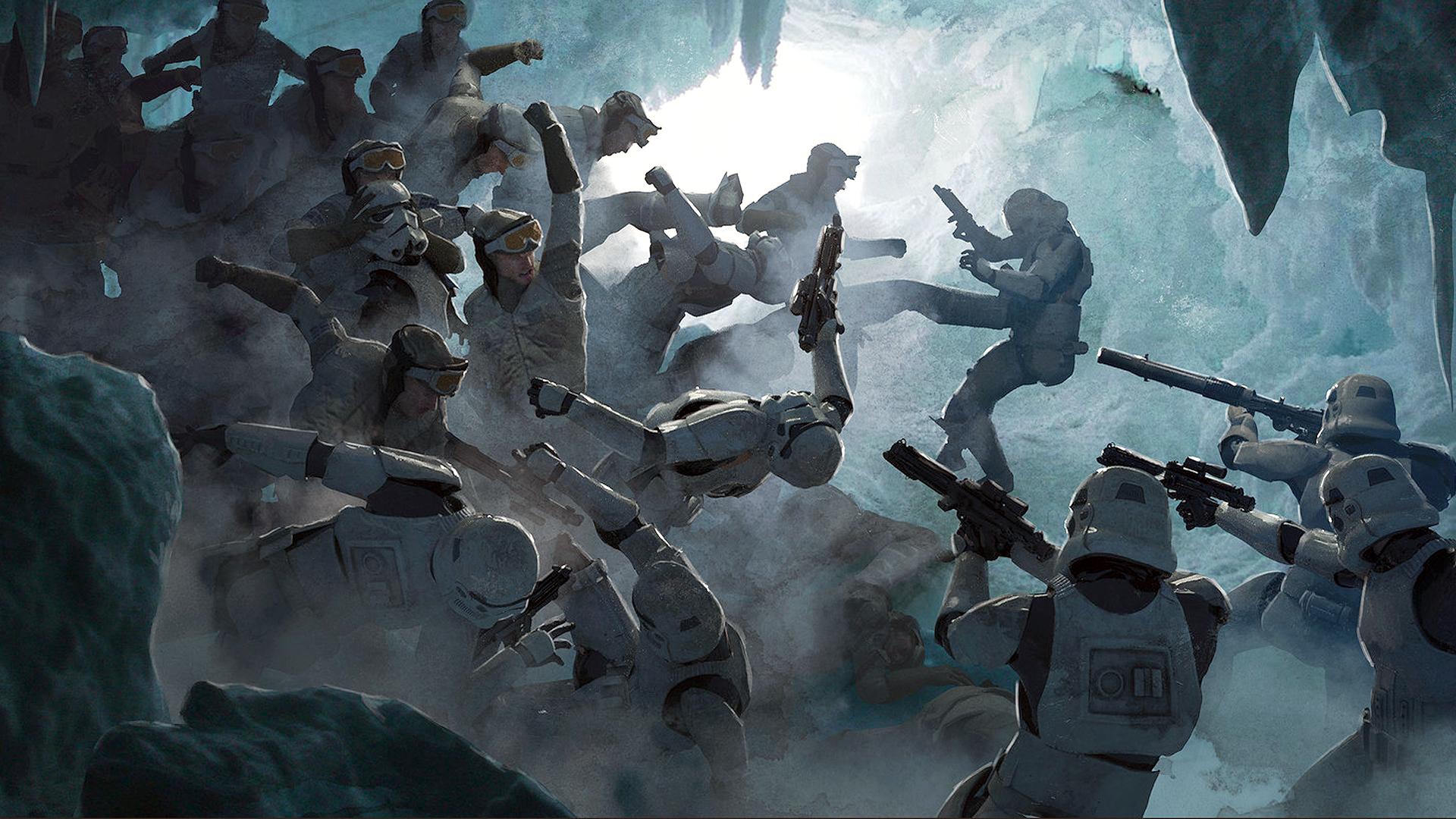 General 1920x1080 Guillem H. Pongiluppi digital art artwork Star Wars stormtrooper Rebels battle ice cave kick blaster movie characters science fiction