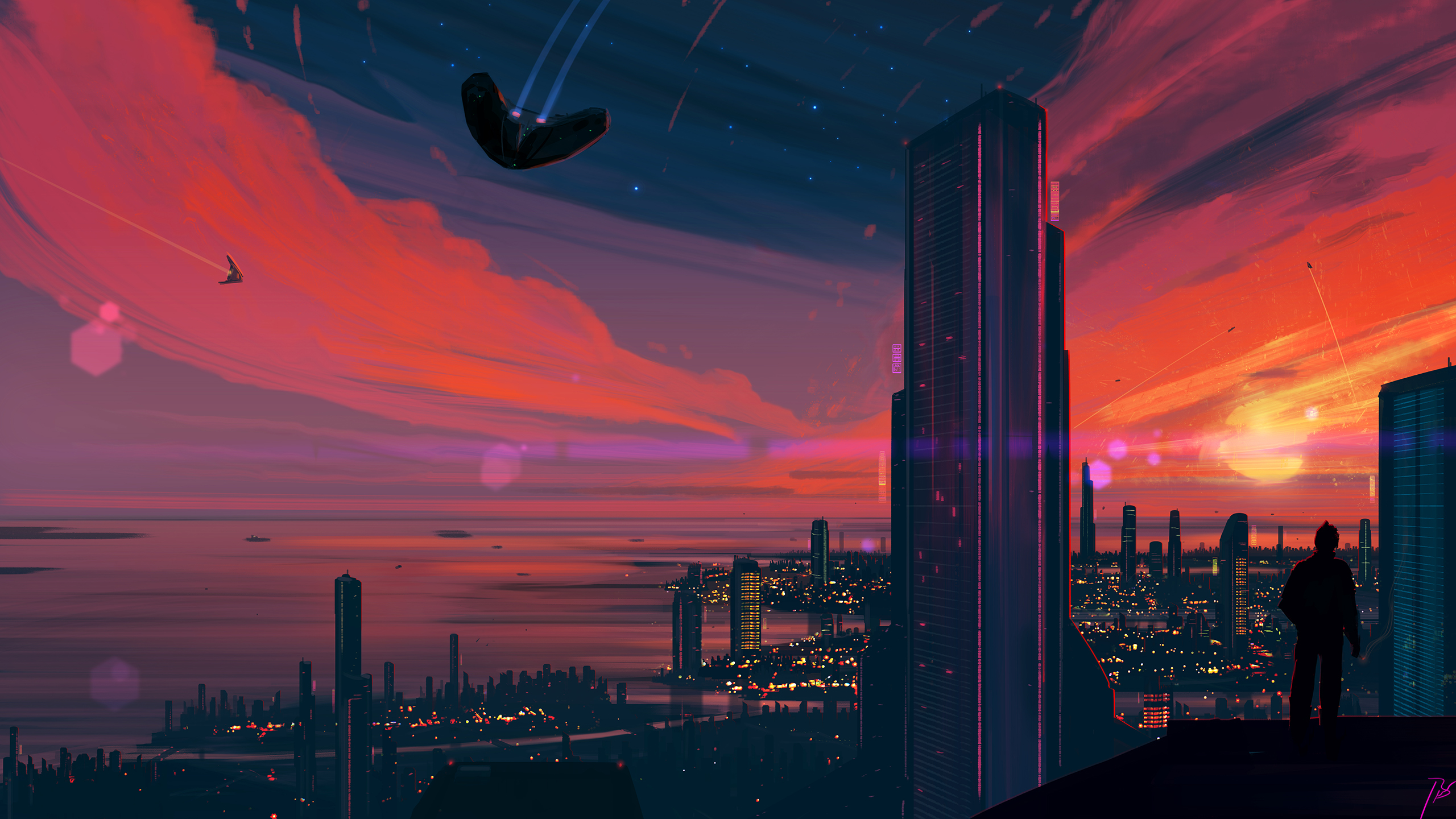 General 2560x1440 cityscape futuristic science fiction city Sun sky building sunrise JoeyJazz