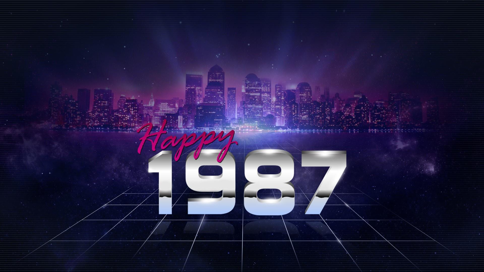 General 1920x1080 1987 (Year) numbers synthwave Retrowave digital art