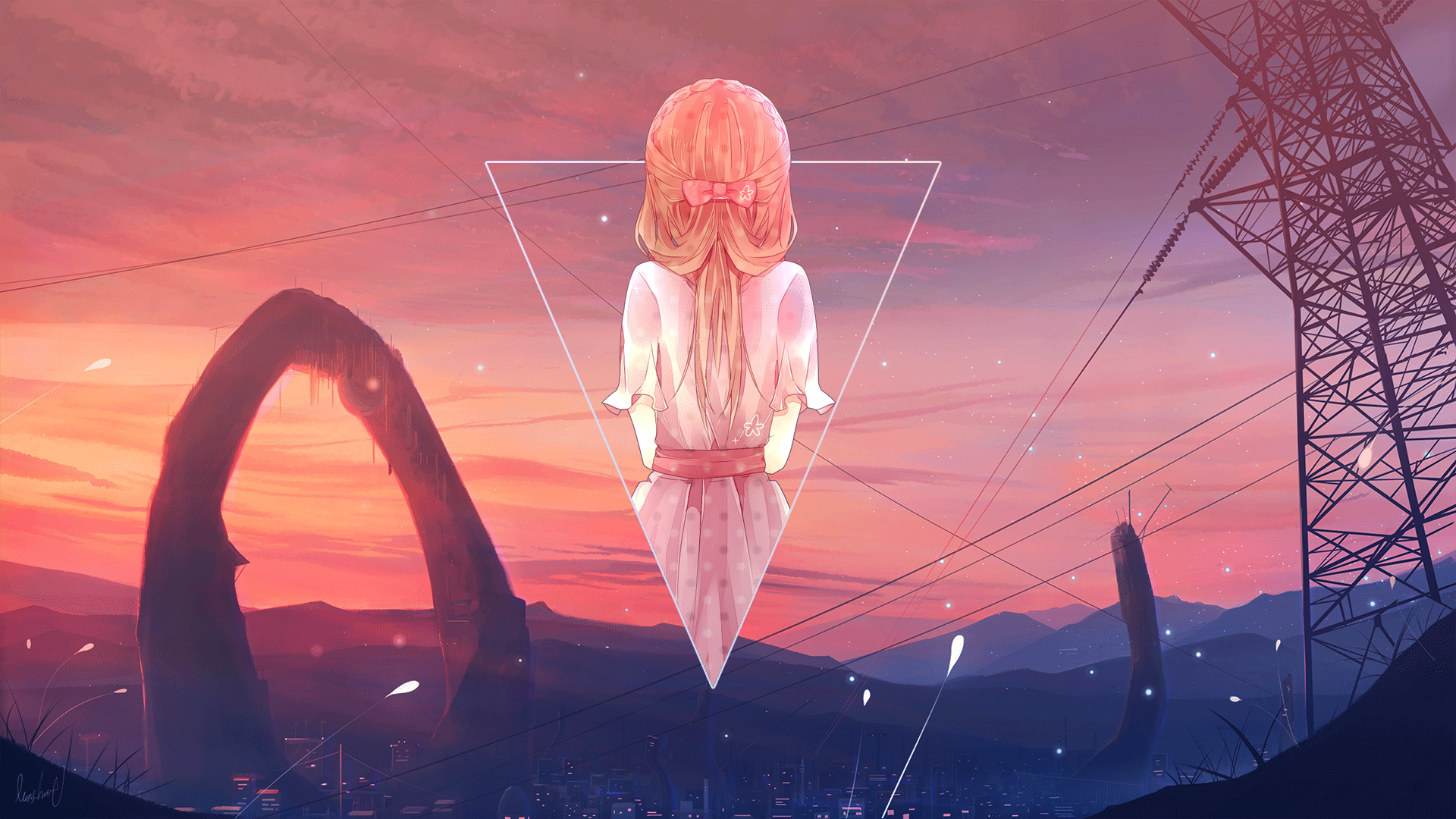 Anime 1920x1080 anime anime girls digital art Photoshop picture-in-picture back landscape sky