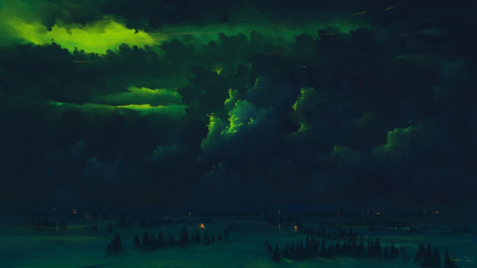 General 1920x1080 BisBiswas digital art green clouds forest