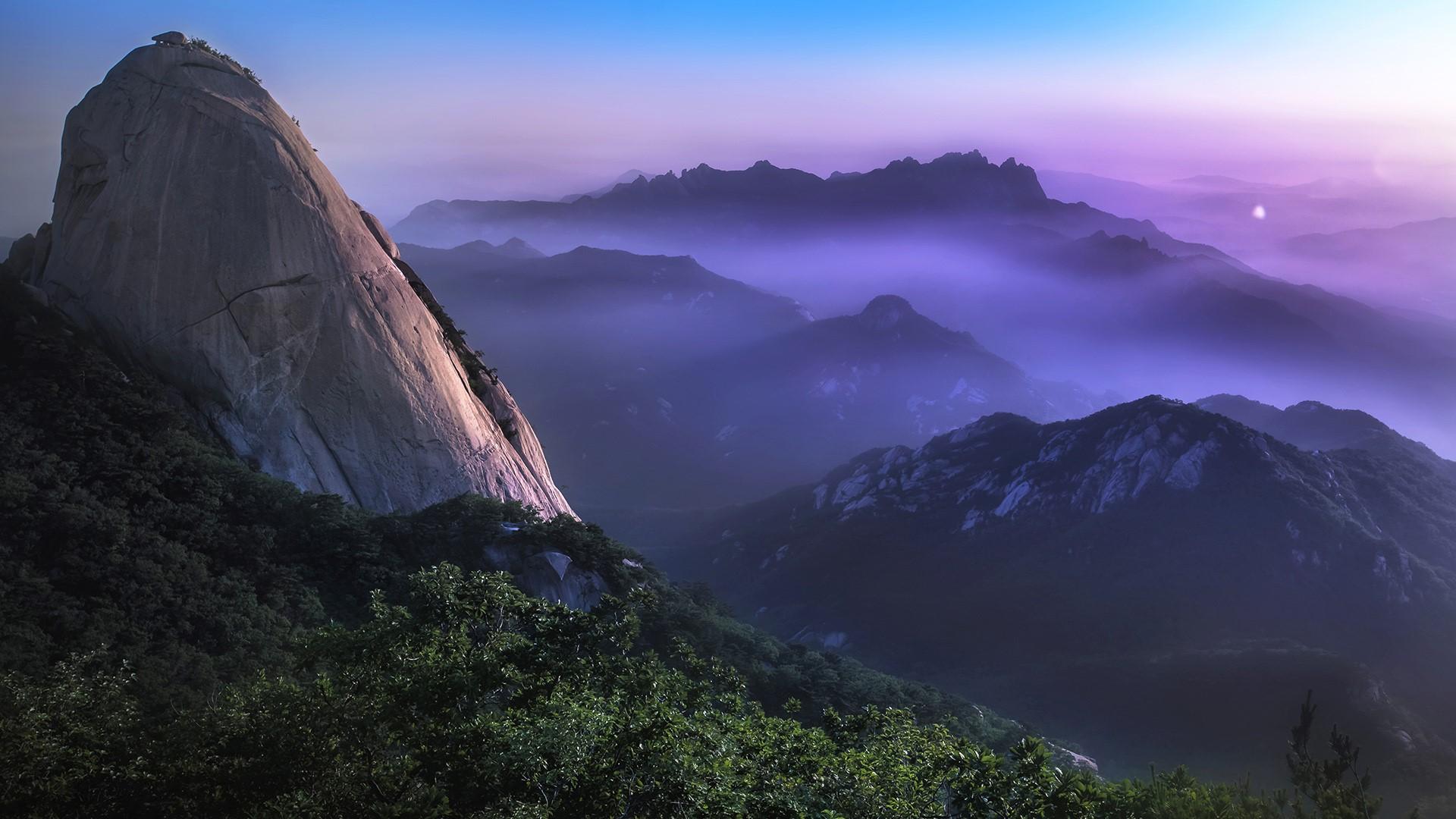 General 1920x1080 nature landscape trees forest mist rock sky Seoul South Korea