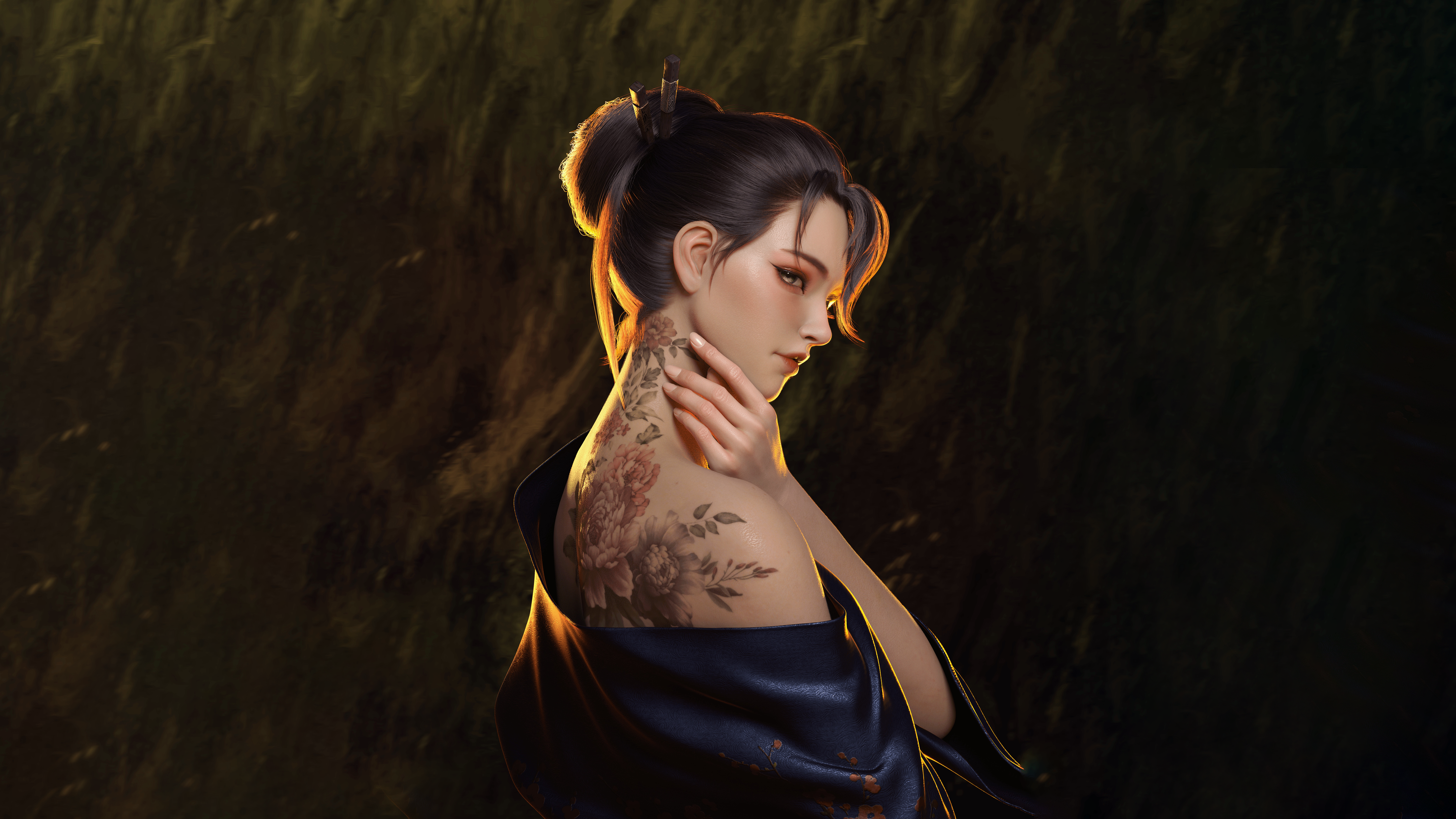 Anime 7498x4218 women digital art artwork dark hair inked girls back Asian simple background fantasy art fantasy girl Yihao Ren