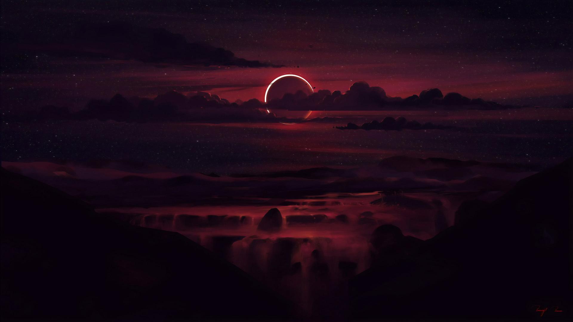 General 1920x1080 solar eclipse dark sky Sun clouds nature