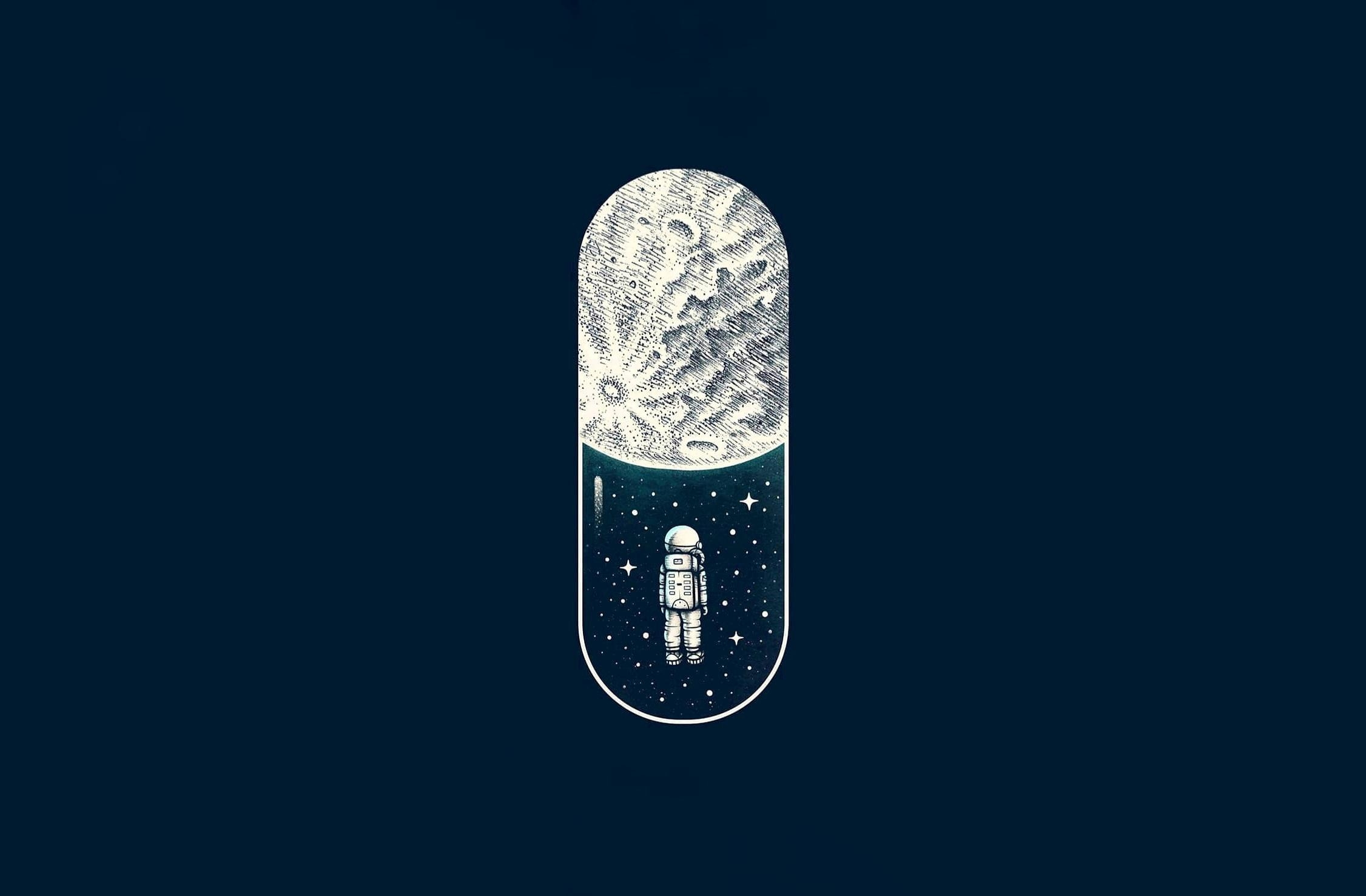 General 2252x1477 space Capsule artwork Moon astronaut illustration stars pills