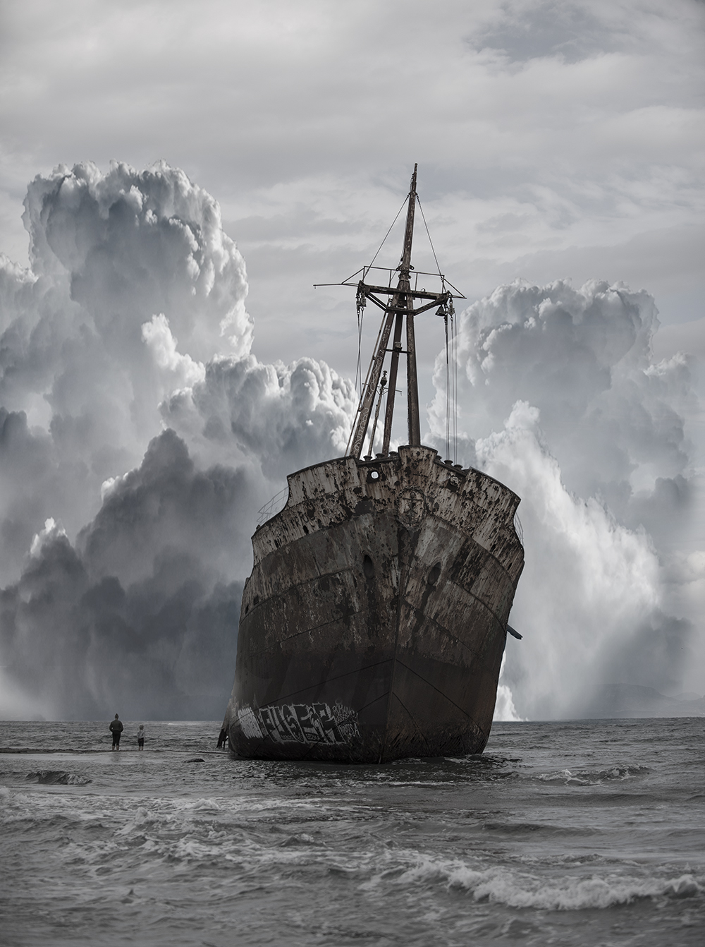 General 1000x1342 ship sea clouds shipwreck graffiti abandoned people portrait display rust old outdoors