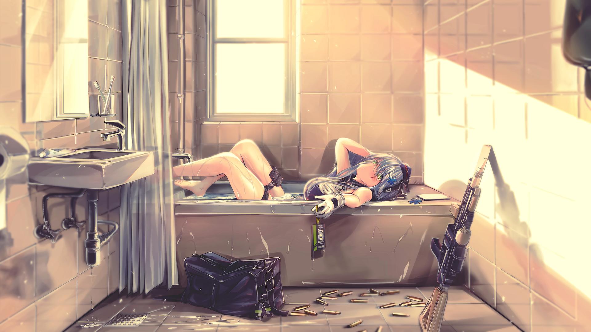 Anime 1920x1080 gun water ammunition weapon Girls Frontline HK416 (Girls Frontline) in bathtub bathtub anime girls anime indoors