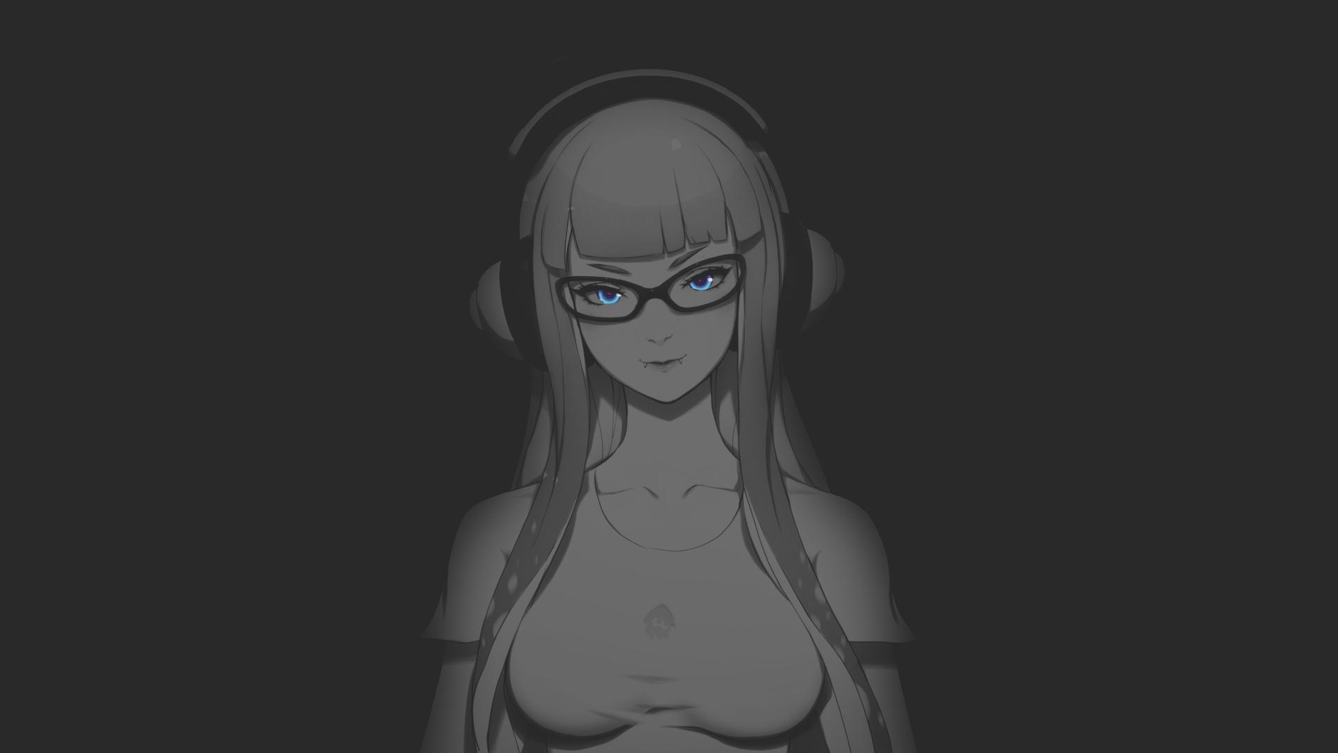 Anime 1920x1080 Zeronis dark background anime anime girls boobs blue eyes headphones illustration night selective coloring Splatoon