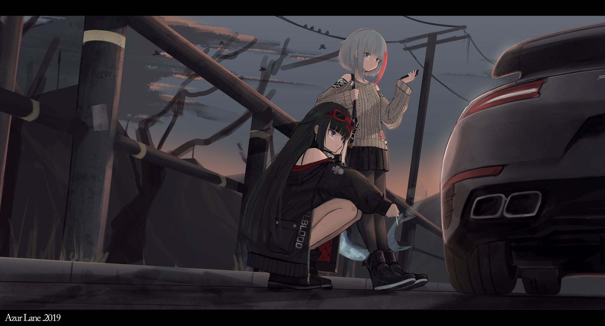 Anime 2000x1078 anime girls anime Azur Lane Admiral Graf Spee (Azur Lane) Deutschland (Azur Lane) magpie_MKI car vehicle long hair dark hair 2019 (Year)